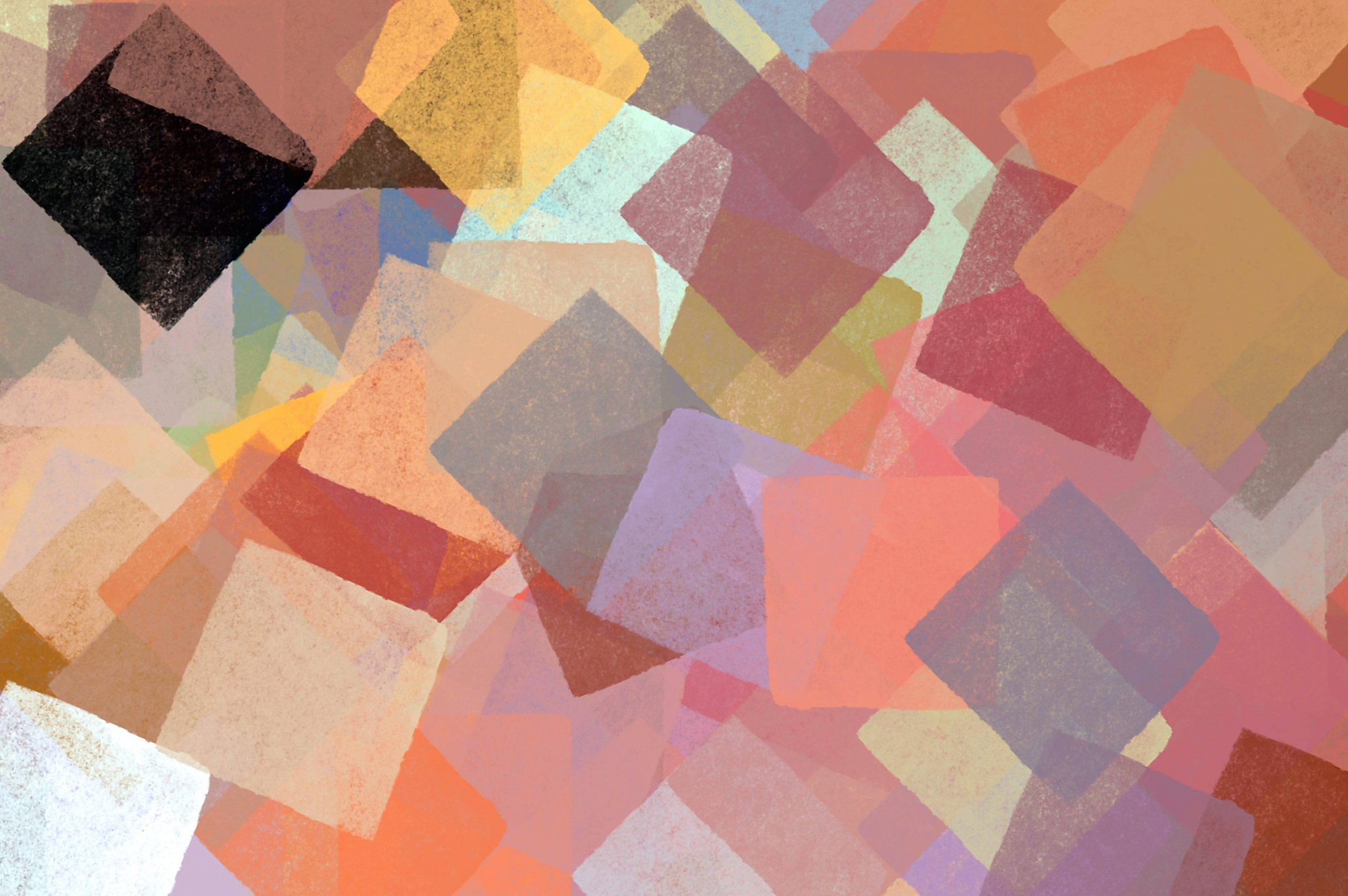 Squares abstract illustration. Brush paint impressionist background pattern.
