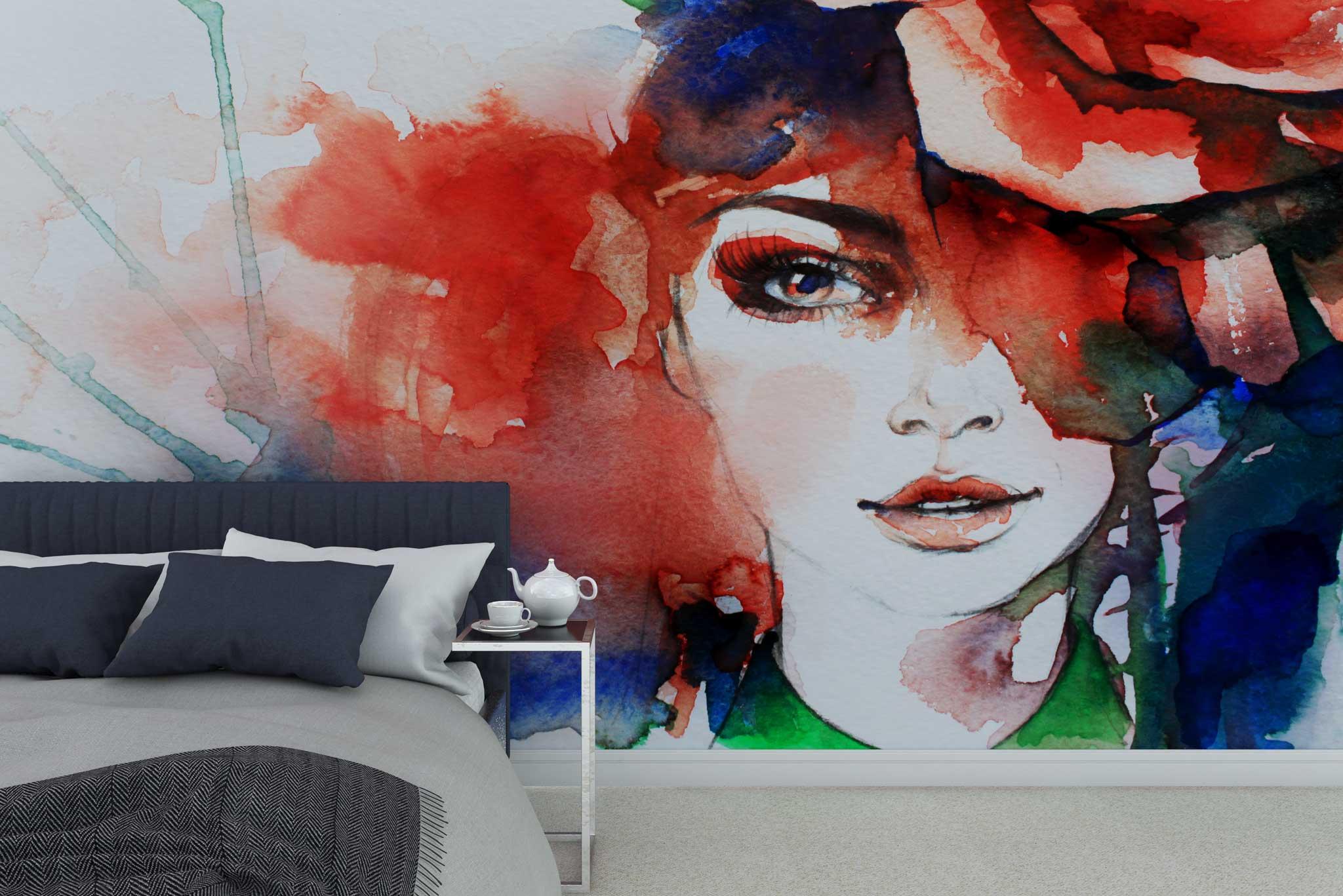 fototapet-tapet-personalizat-customizabil-comanda-design-bucuresti-acuarela-portret-femeie-fata-rosu-contemporan-pictura