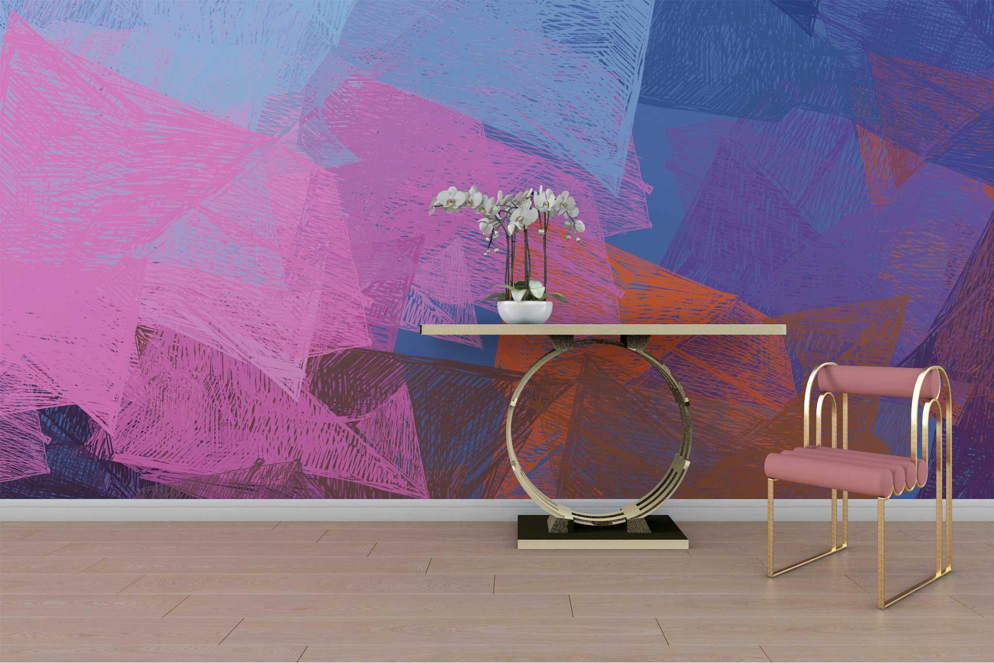 tapet-fototapet-design-customizabil-comanda-personalizat-decor-mural-bucuresti-daring-prints-motiv-desen-geometric-abstract-contemporan-culori-roz-mov-albastru