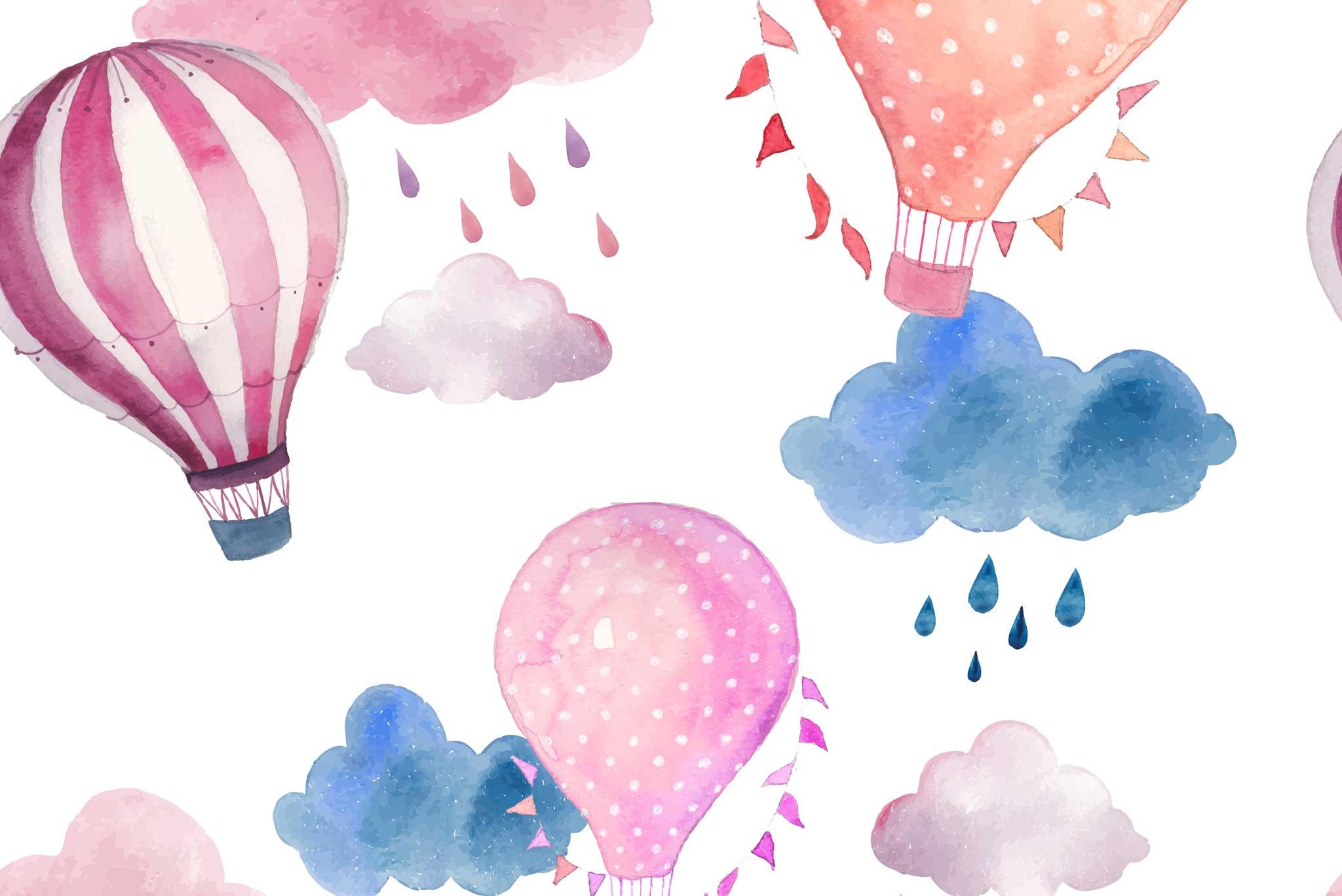 tapet-fototapet-design-decor-mural-customizabil-comanda-personalizat-bucuresti-daring-prints-motiv-model-copii-desen-baloane-aer-norisori-roz-alb