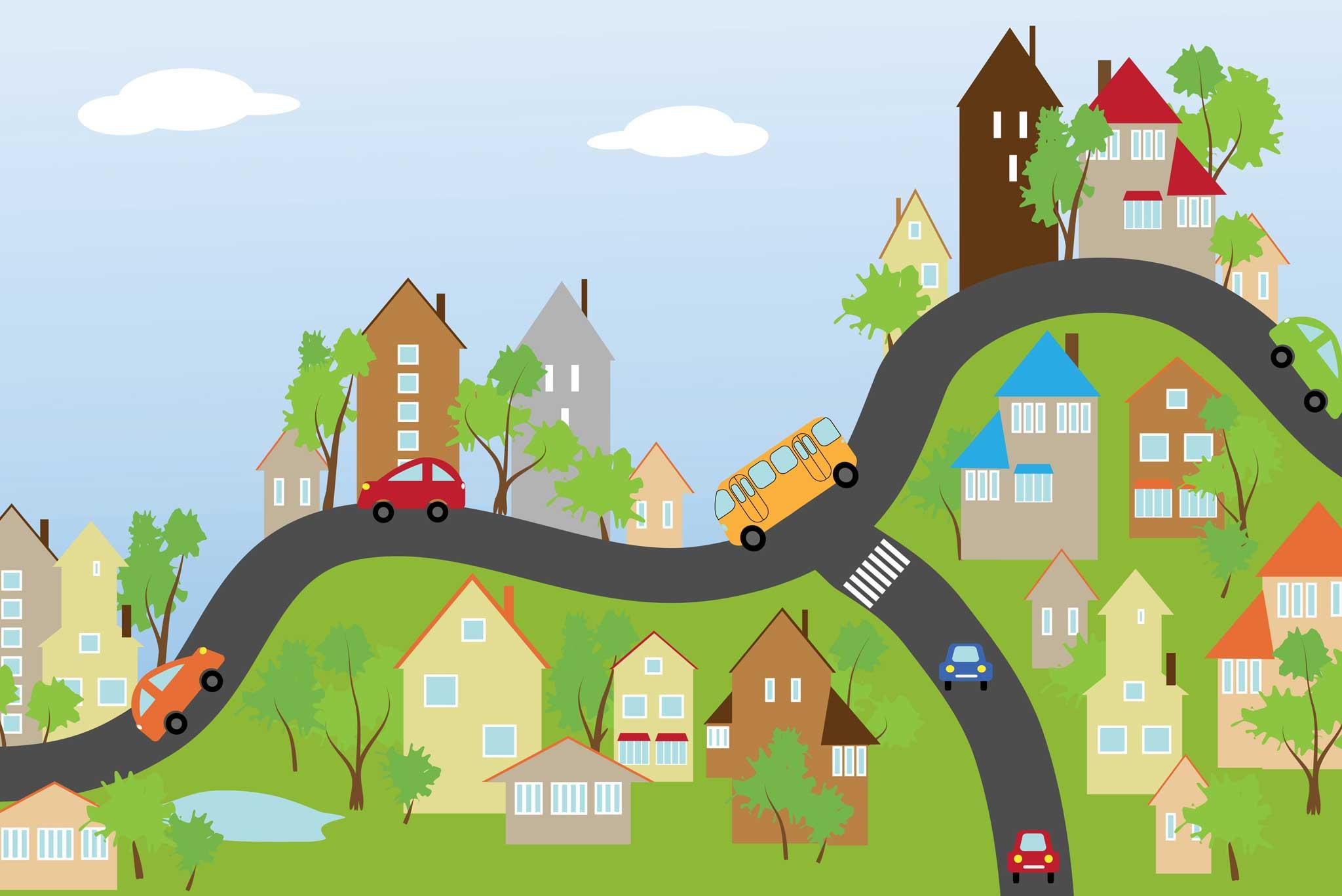 tapet-fototapet-design-decor-mural-customizabil-comanda-personalizat-bucuresti-daring-prints-motiv-model-copii-desen-oras-dealuri-case-masini-multicolor