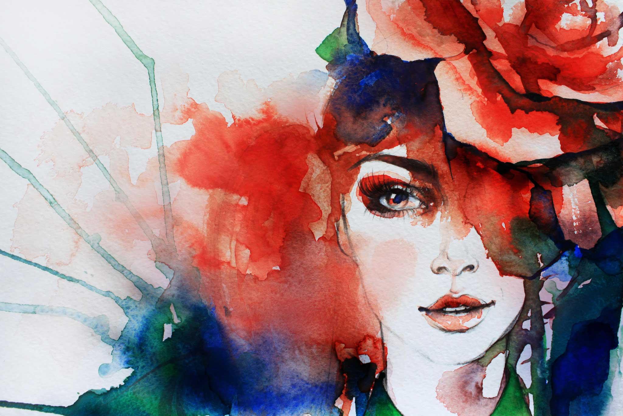 tapet-fototapet-design-decor-mural-customizabil-comanda-personalizat-bucuresti-daring-prints-motiv-model-desen-acuarela-portret-femeie-fata