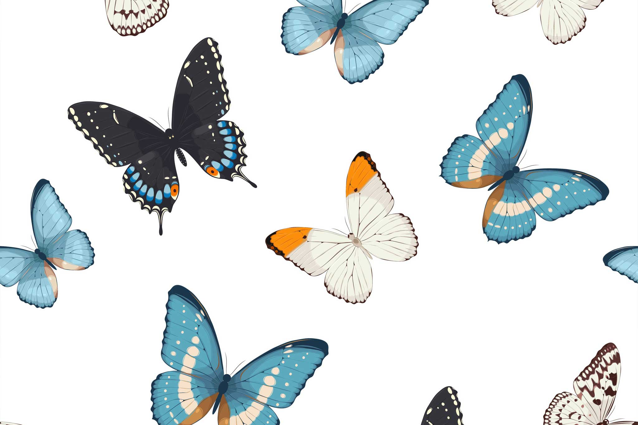tapet-fototapet-design-decor-mural-customizabil-comanda-personalizat-bucuresti-daring-prints-motiv-model-fluturi-albastri-bleu-fundal-alb