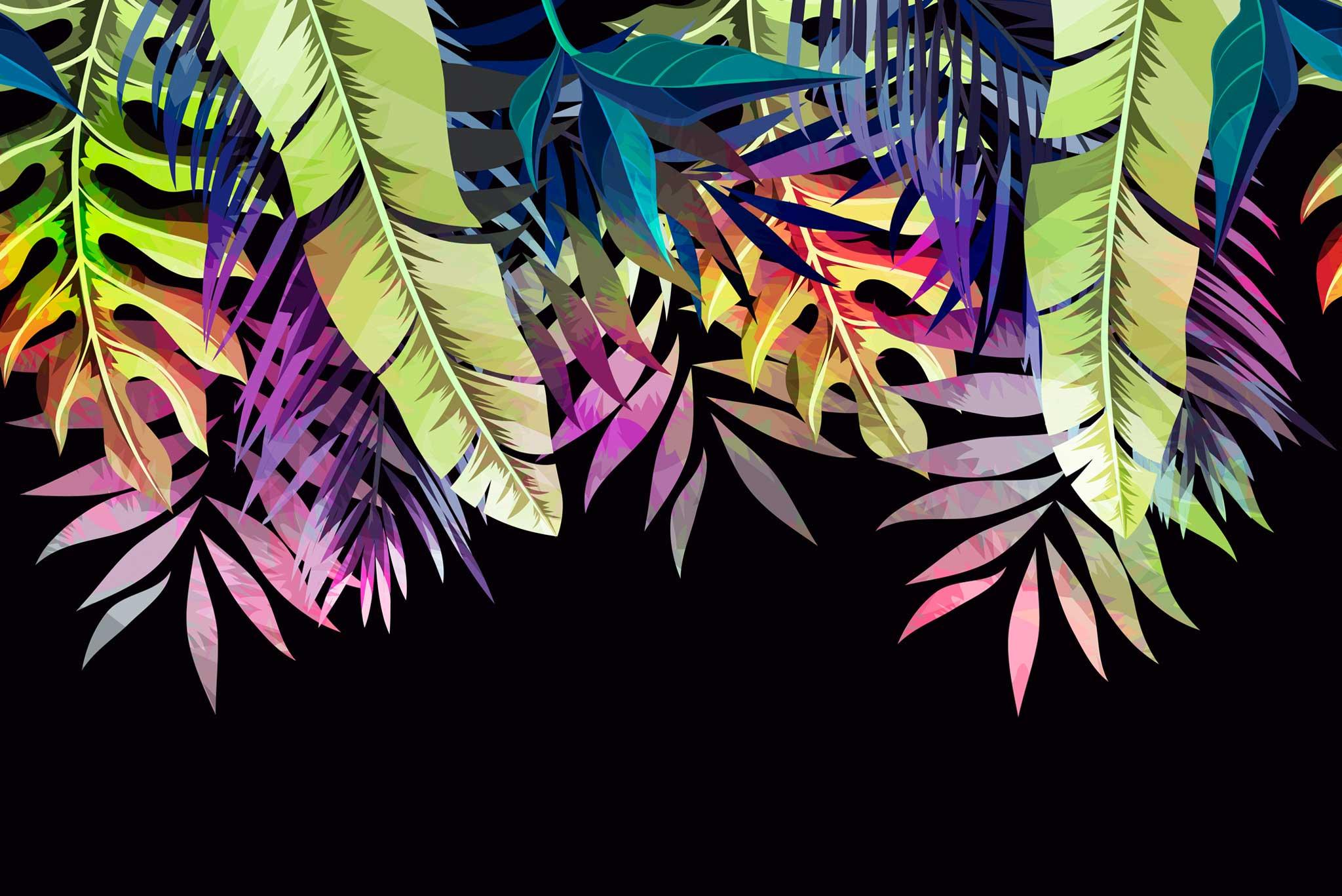 tapet-fototapet-design-decor-mural-customizabil-comanda-personalizat-bucuresti-daring-prints-motiv-model-vegetal-frunze-exotice-tropicale-colorat-multicolor-negru