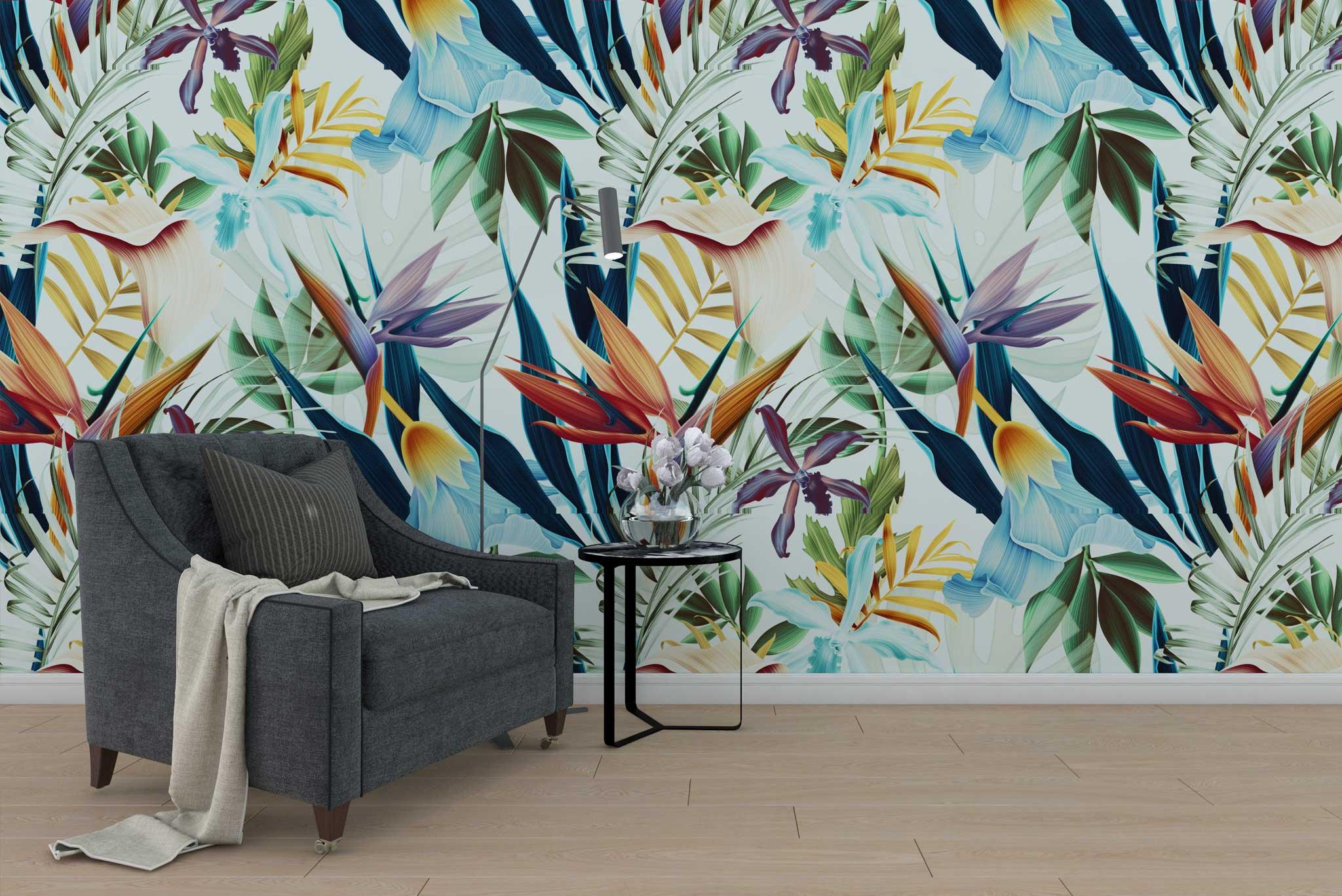 tapet-fototapet-design-personalizat-comanda-customizabil-bucuresti-daring-prints-flori-model-motiv-vegetal-frunze-exotic-multicolor-colorat