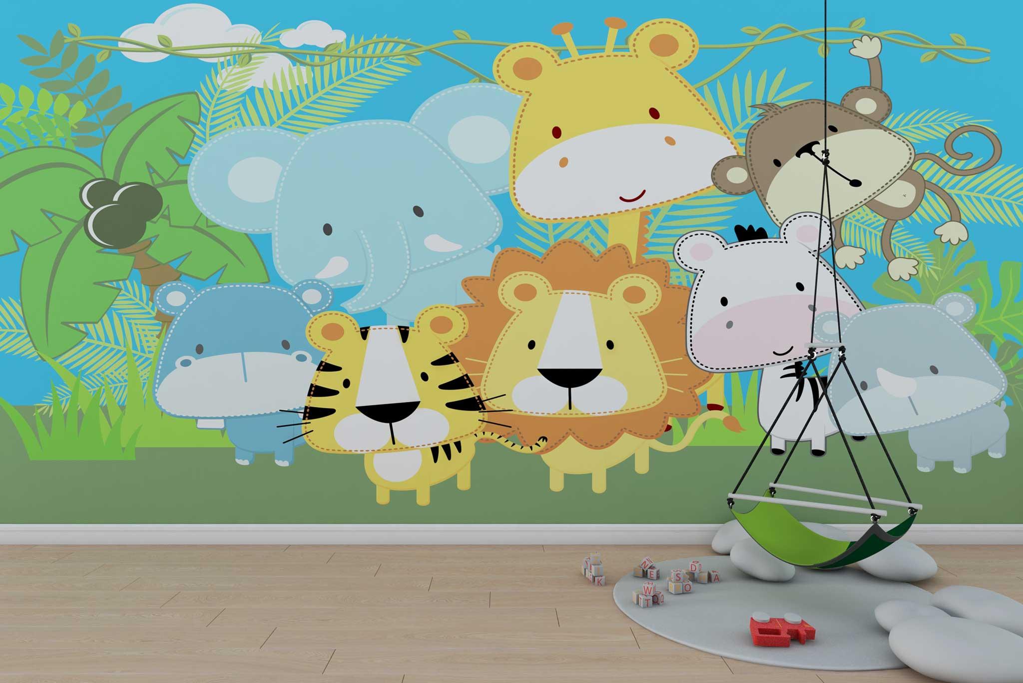 tapet-fototapet-design-personalizat-customizabil-comanda-special-camera-dormitor-copii-model-animale-jungla-prieteni-desen-multicolor