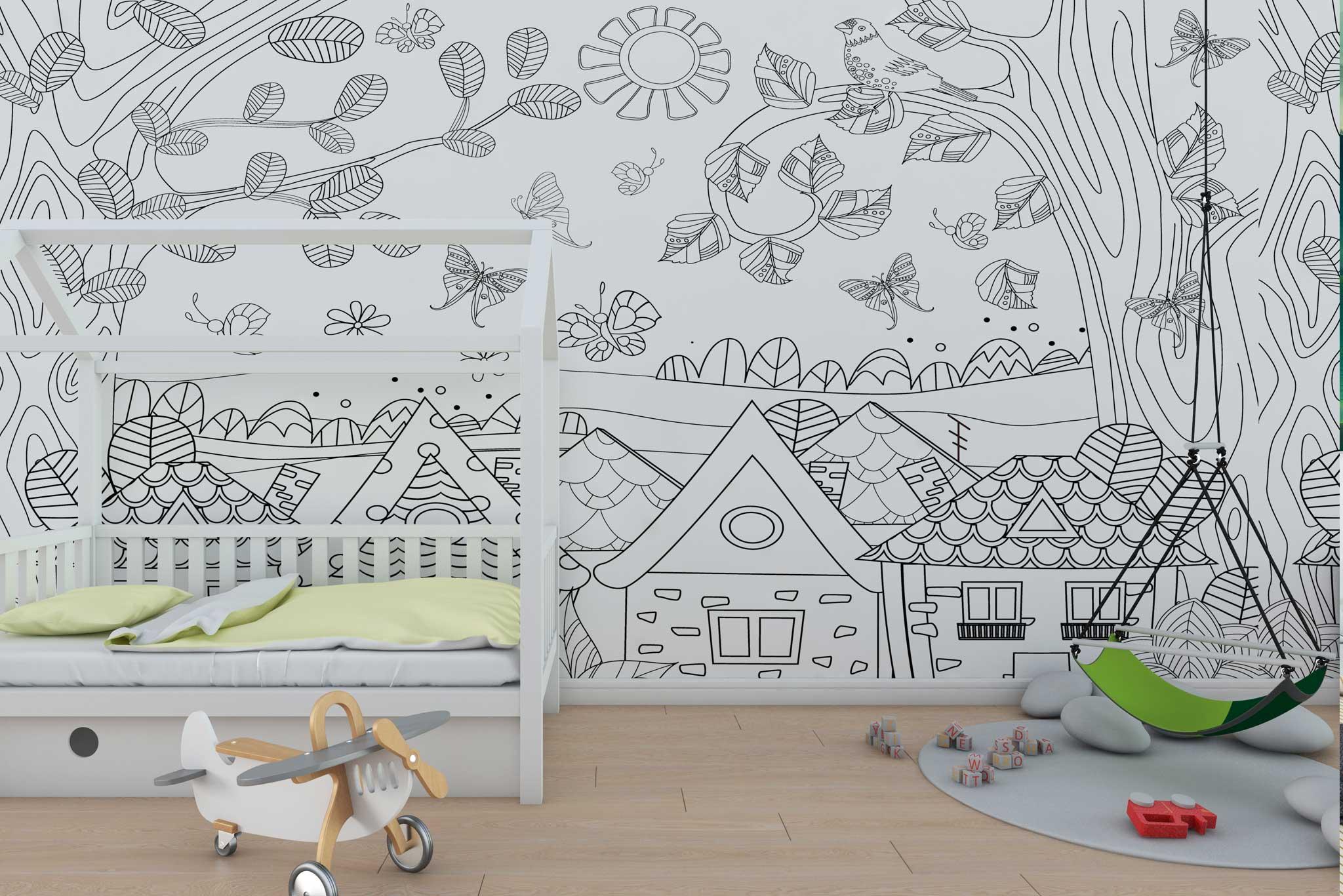 tapet-fototapet-design-personalizat-customizabil-comanda-special-camera-dormitor-copii-model-de-colorat=casute-copaci-alb-negru