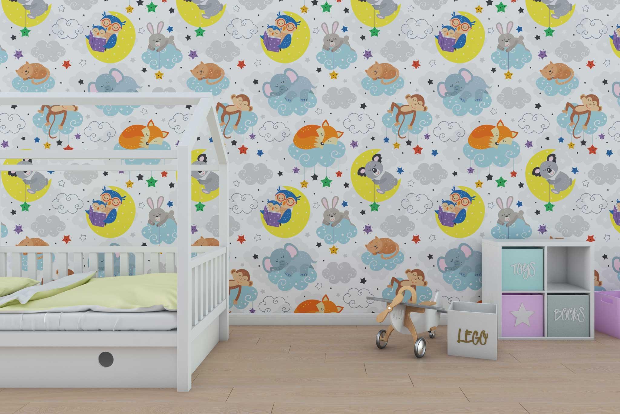 tapet-fototapet-design-personalizat-customizabil-comanda-special-camera-dormitor-copii-model-desen-animale-somnoroase-maimuta-bufnita-koala-norisori-multicolor-fundal-alb