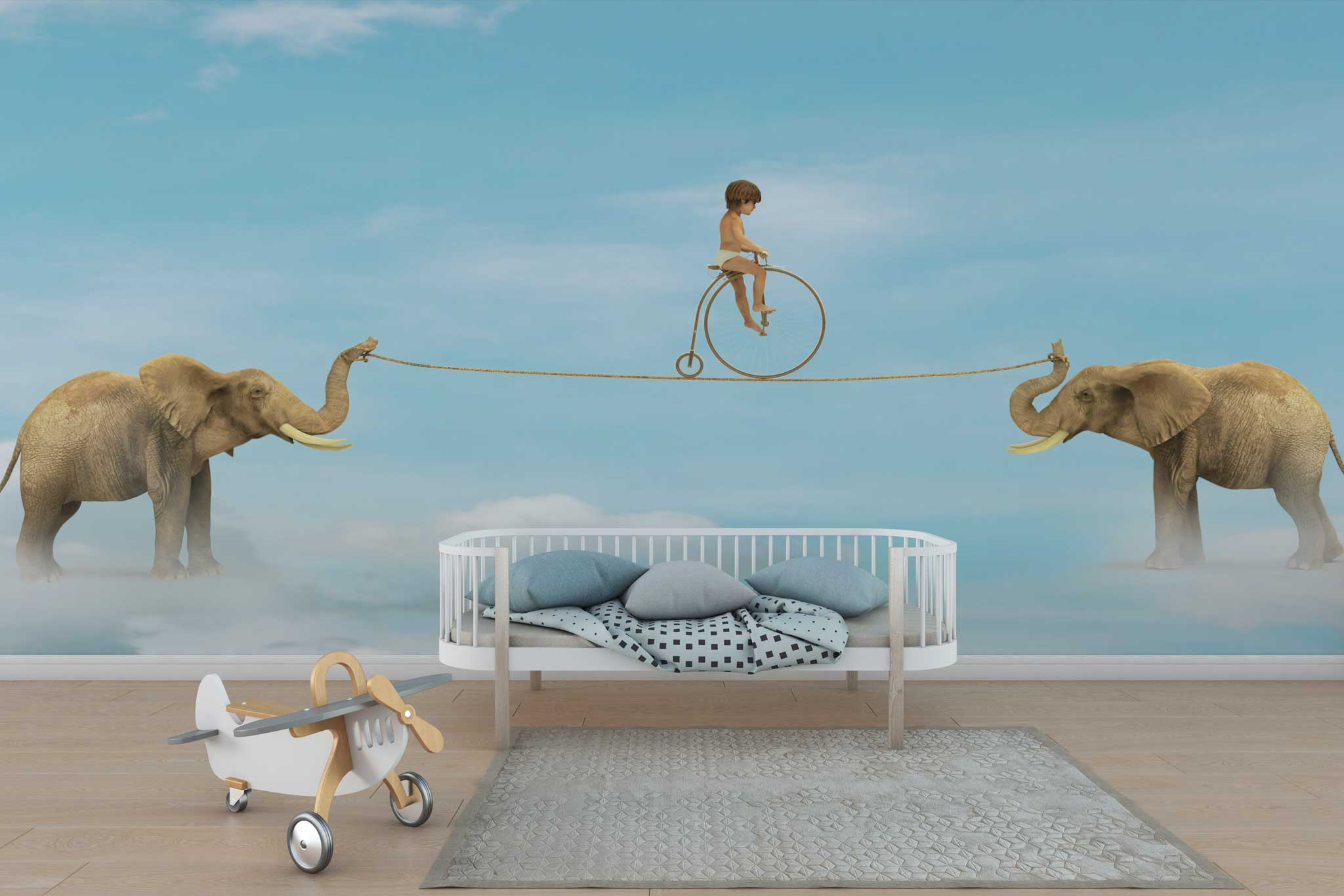 tapet-fototapet-design-personalizat-customizabil-comanda-special-camera-dormitor-copii-model-fantastic-vis-cer-senin-elefanti-baietel-bicicleta-sarma-albastru