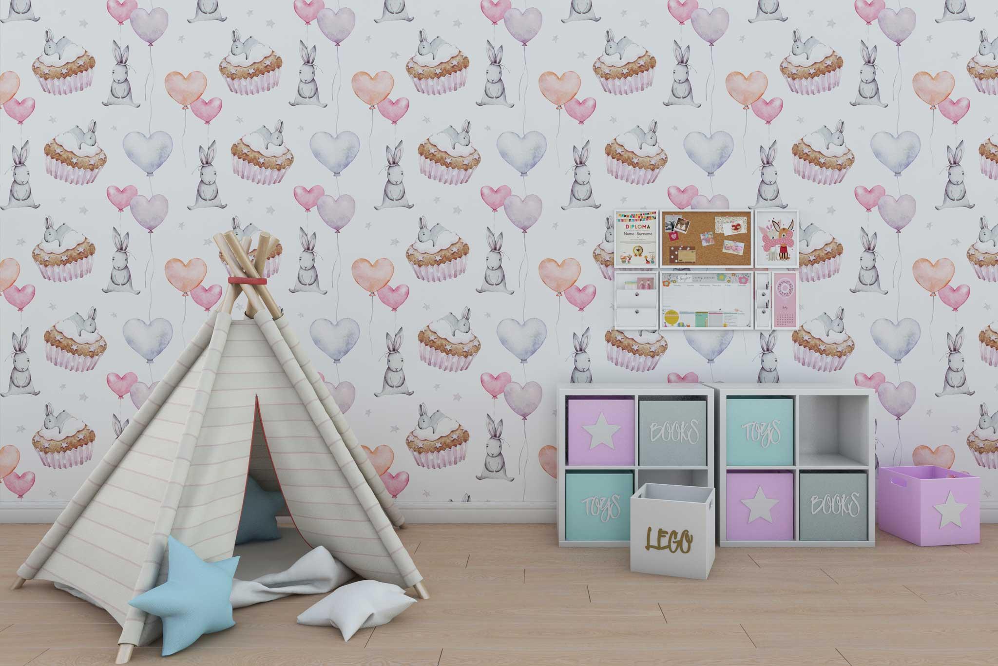 tapet-fototapet-design-personalizat-customizabil-comanda-special-camera-dormitor-copii-model-iepurasi-inimi-prajituri-culoare-roz-alb