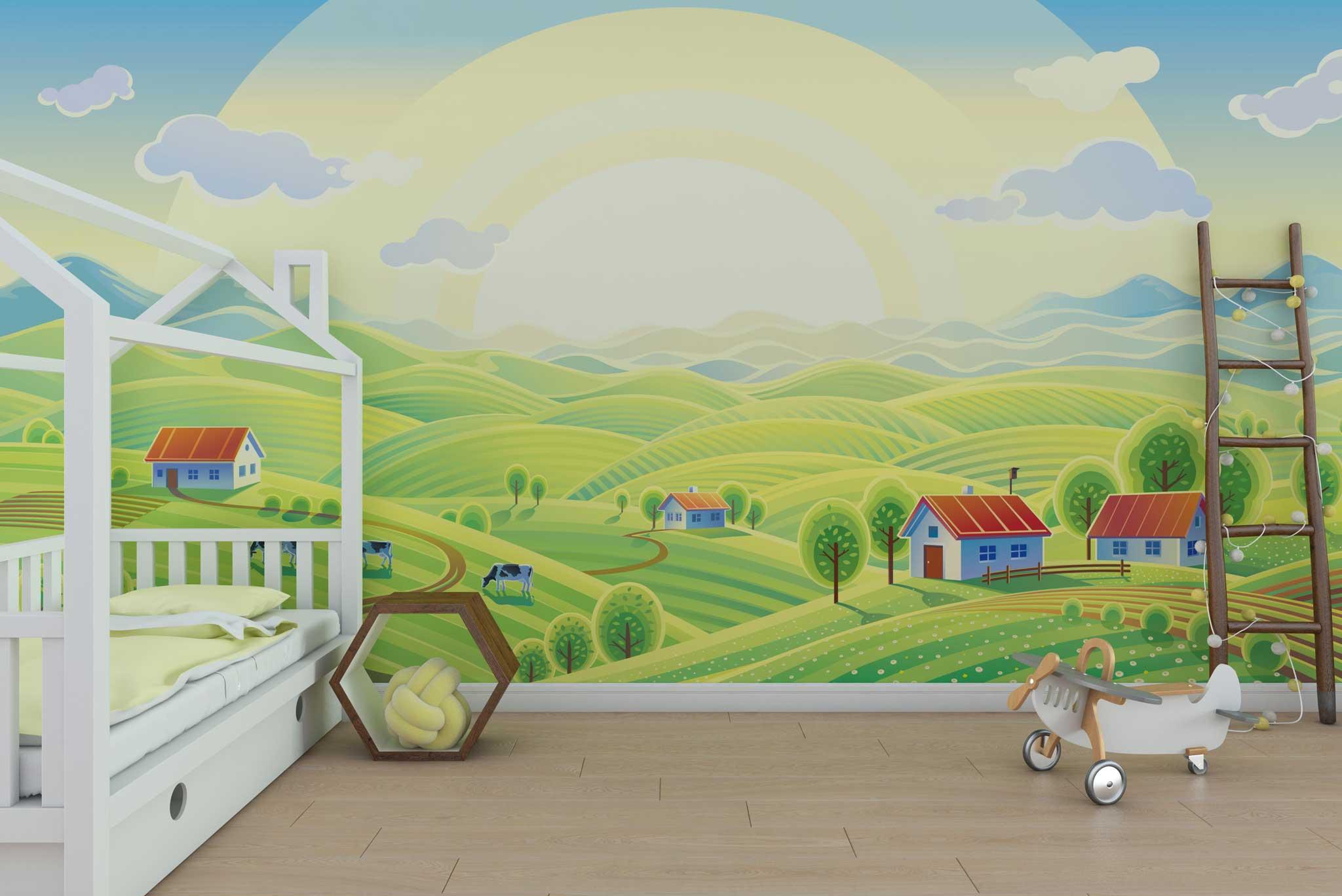 tapet-fototapet-design-personalizat-customizabil-comanda-special-camera-dormitor-copii-model-sat-dealuri-soare-stralucitor-campie-verde-multicolor