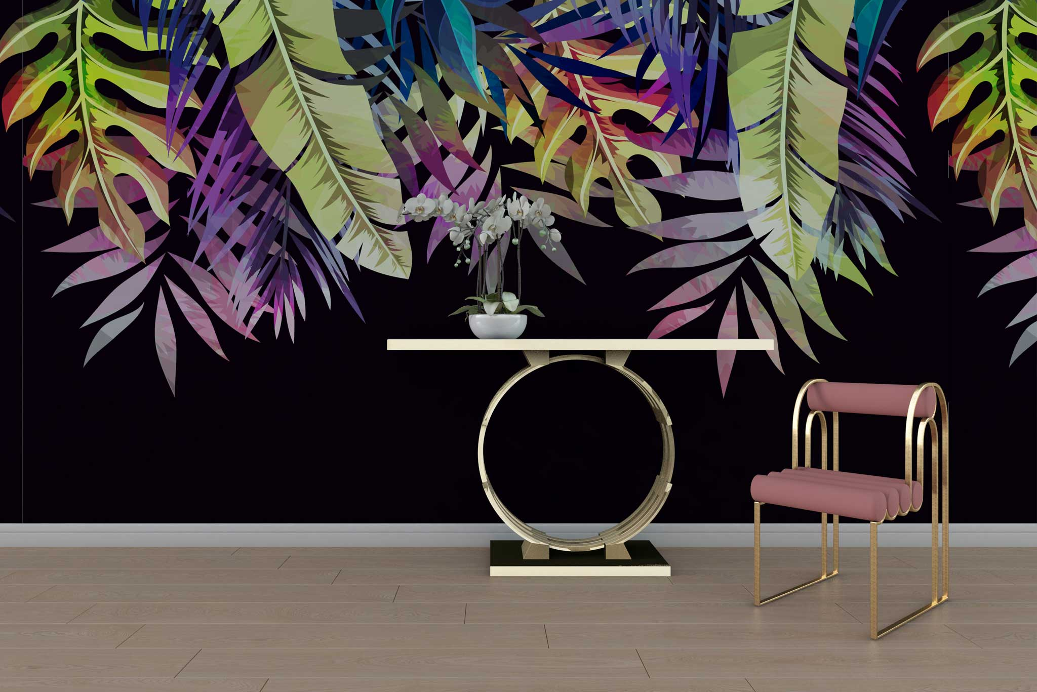tapet-fototapet-personalizat-special-comanda-bucuresti-model-negru-frunze-exotice-colorate-lux