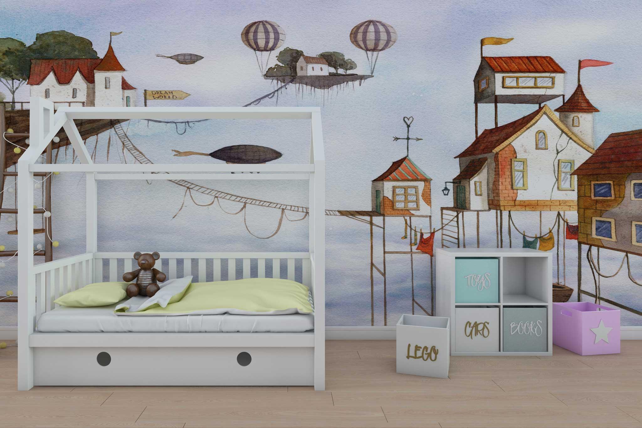 tapet-fototapet-special-personalizat-comanda-bucuresti-camera-dormitor-copii-perete-pat-design-interior-case-casute-poveste-fantastic-imaginatie-calatorie