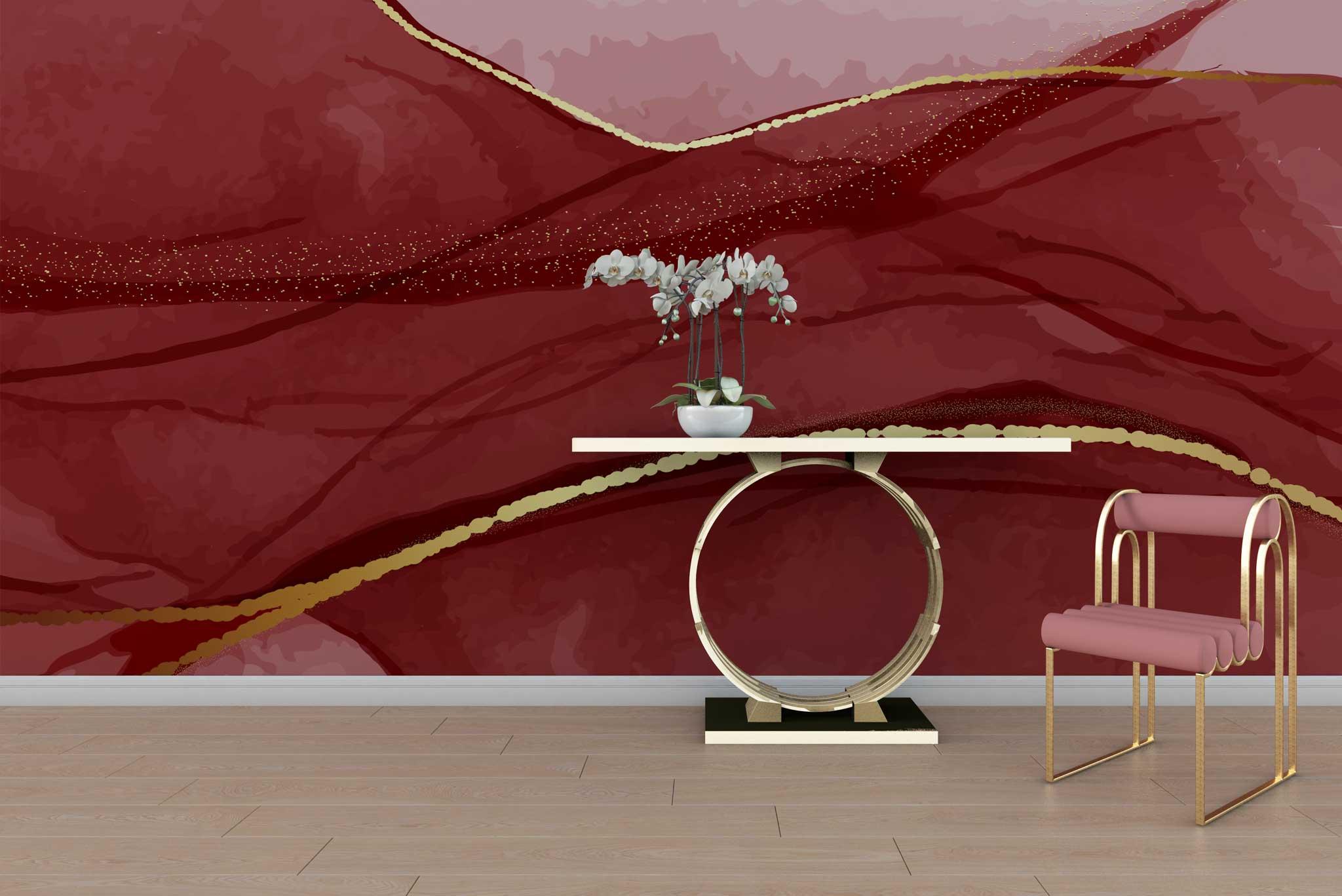 tapet-fototapet-special-personalizat-customizabil-comanda-bucuresti-daring-prints-model-contemporan-elegant-lux-ilustratie-acuarela-rosu-auriu