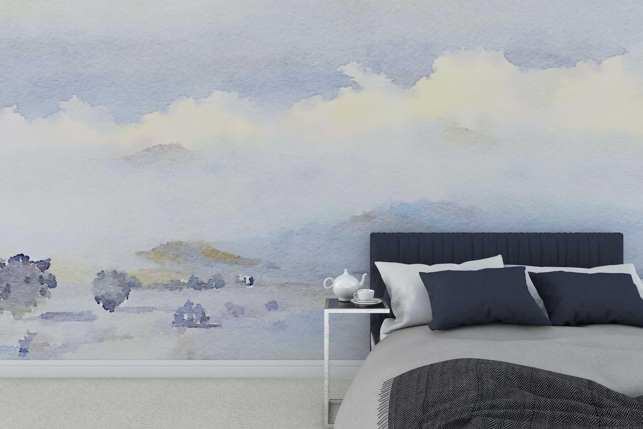 tapet-fototapet-special-personalizat-customizabil-comanda-bucuresti-daring-prints-model-desen-ilustratie-acuarela-peisaj-bleu-pastel