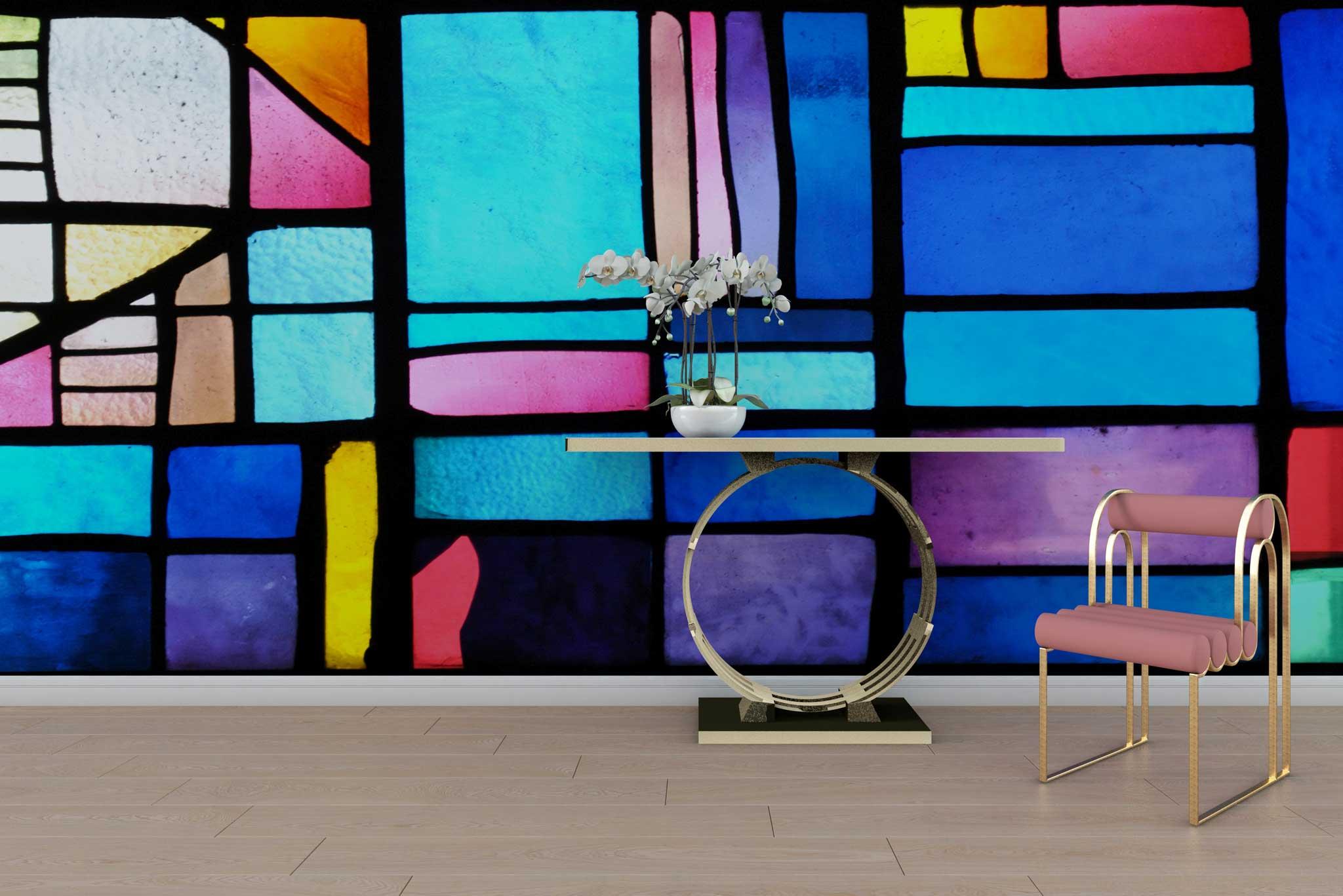 tapet-fototapet-special-personalizat-customizabil-comanda-bucuresti-daring-prints-model-grafic-geometric-contemporan-vitraliu-multicolor