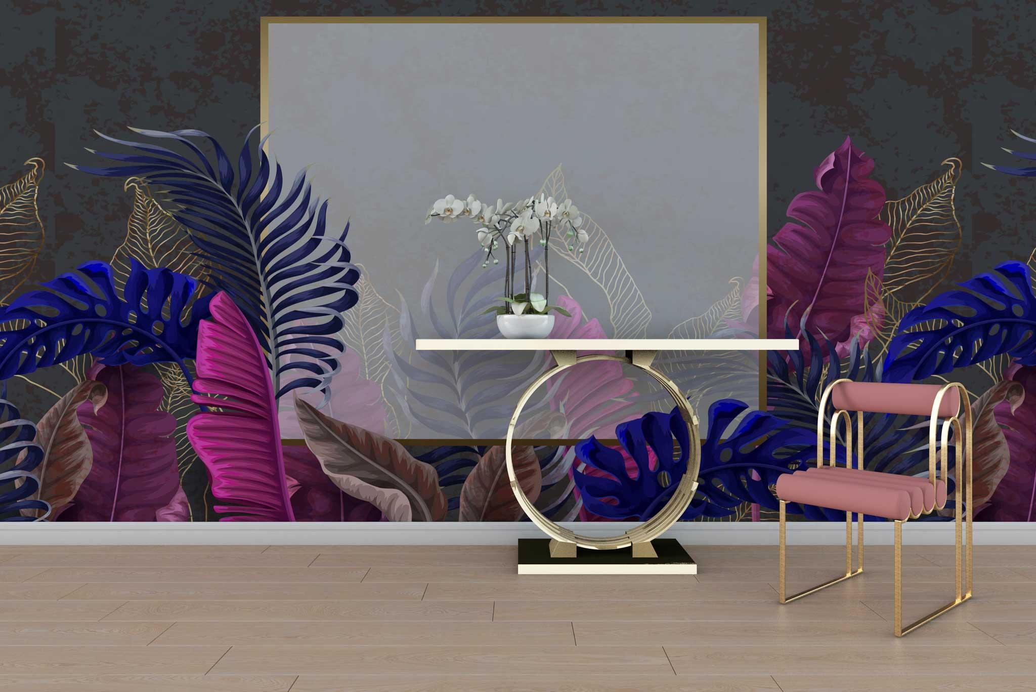 tapet-fototapet-special-personalizat-customizabil-comanda-bucuresti-daring-prints-model-motiv-vegetal-frunze-exotice-luxuriant-cadran-chenar-auriu-fundal-negru-multicolor