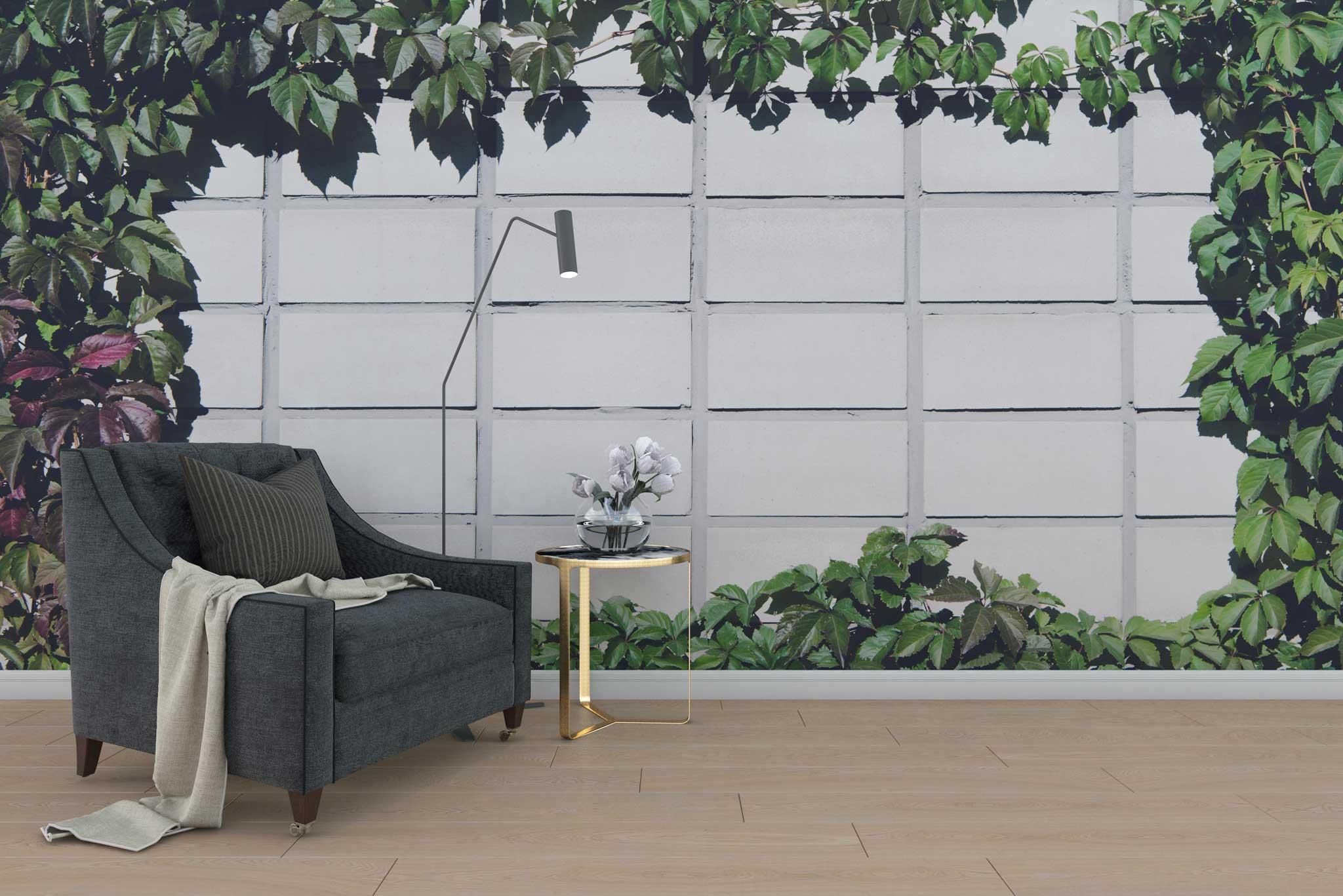 tapet-fototapet-special-personalizat-customizabil-comanda-bucuresti-daring-prints-model-motiv-vegetal-frunze-iedera-perete-beton-verde
