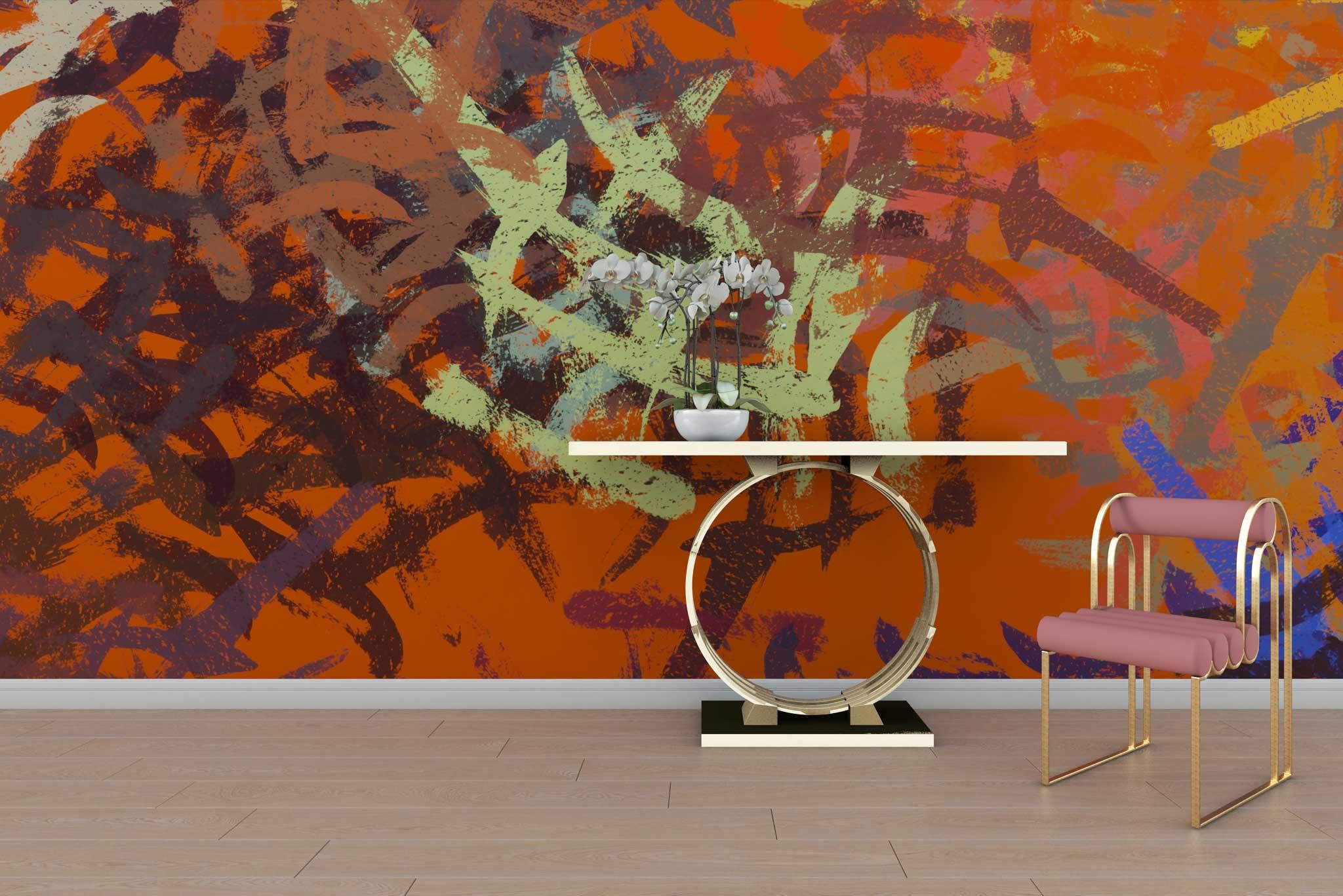 tapet-fototapet-special-personalizat-customizabil-comanda-bucuresti-daring-prints-model-pictura-contemporana-abstracta-tuse-pensula-rosu