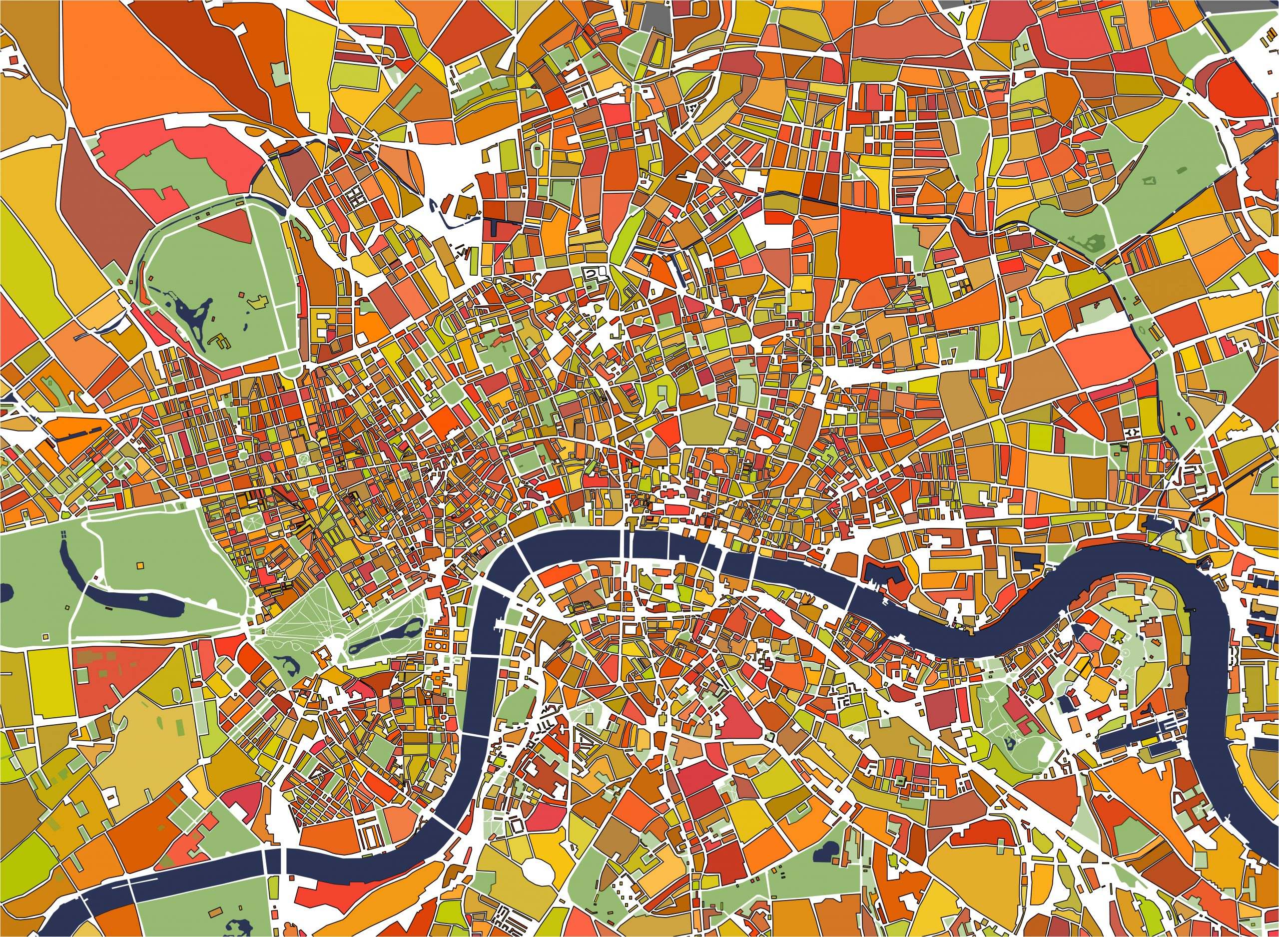 vector multicolor map of the city of London, Great Britain