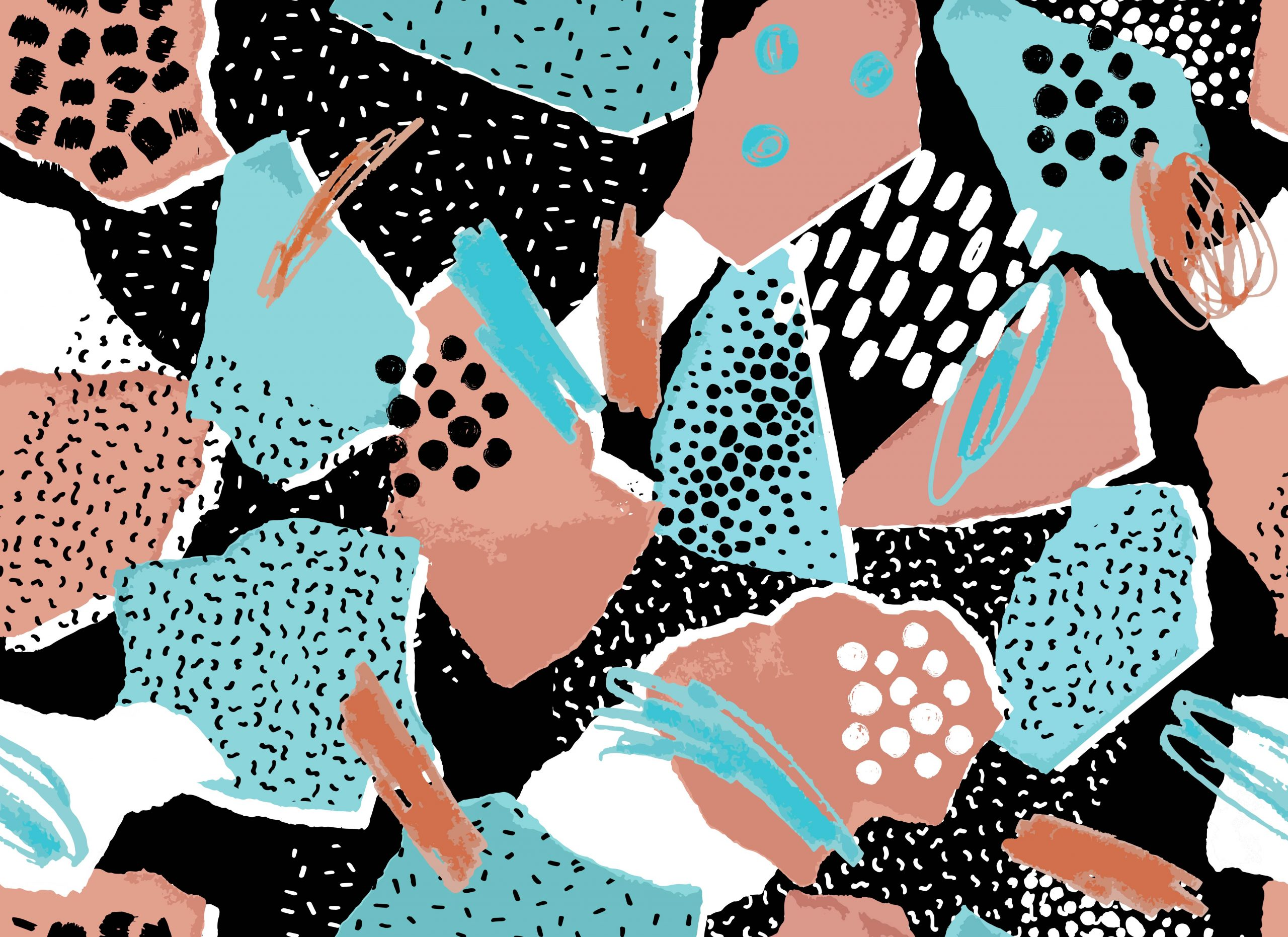 Abstract torn paper and geometric shapes collage of retro 80's fashion textures. Seamless pattern.