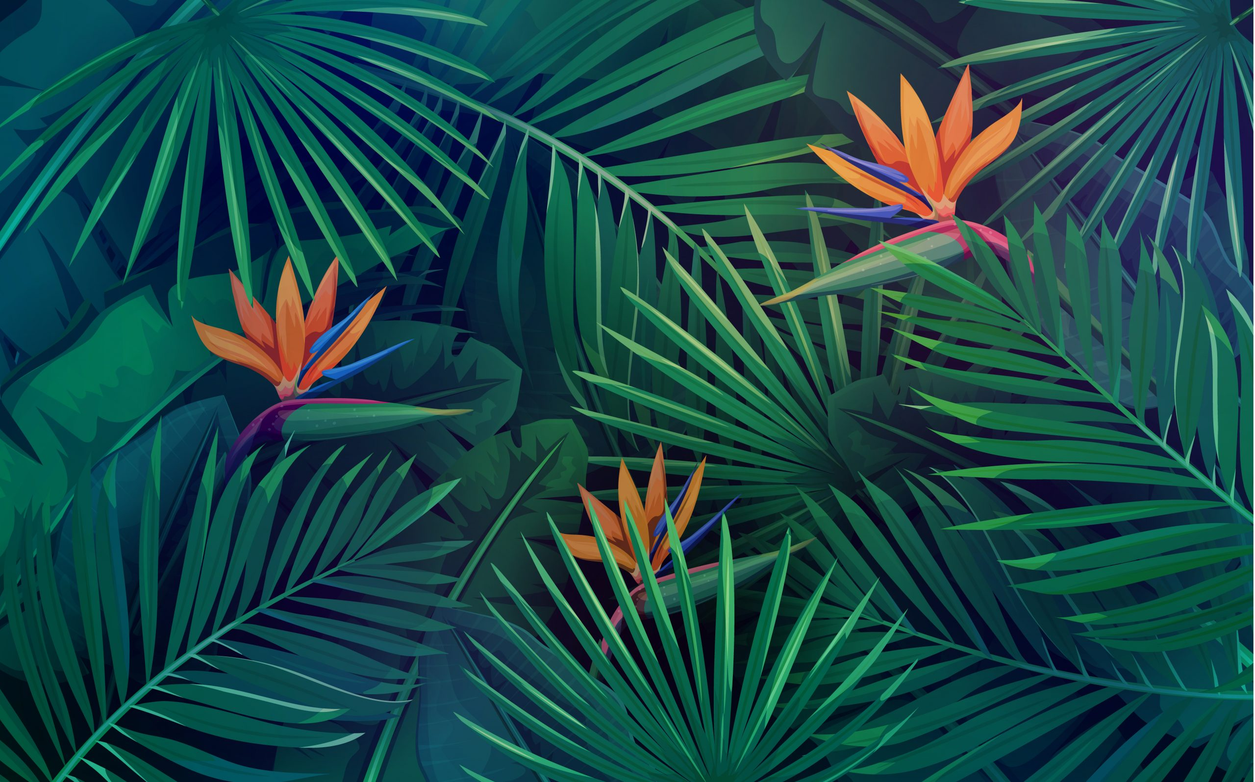 Vector tropical background with leaves and flowers. Jungle exotic strelitzia, banana leaf, philodendron and areca palm. Wallpaper screen summer tropical paradise.