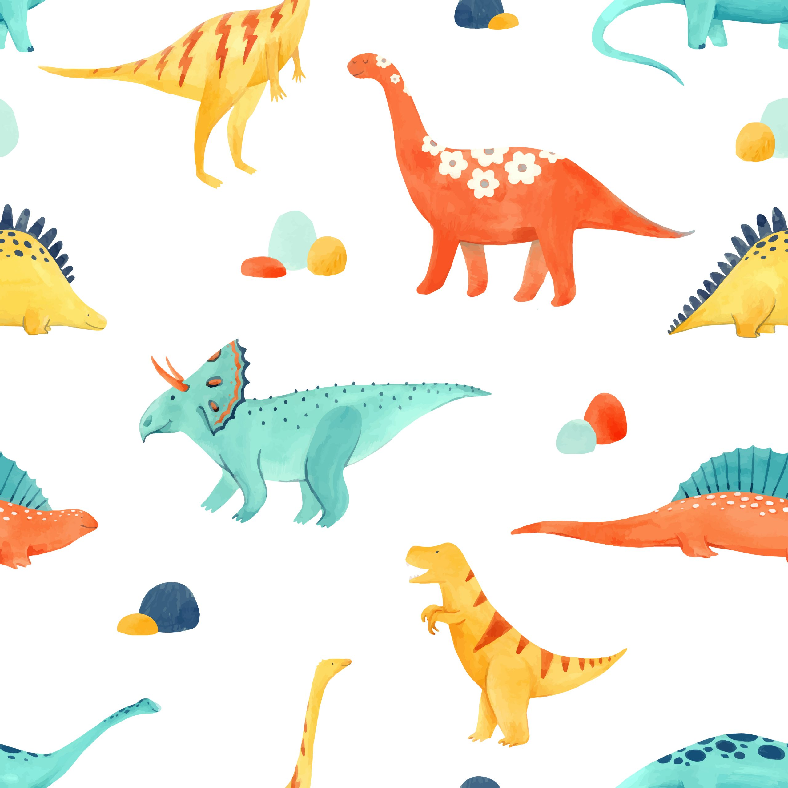 Beautiful vector baby seamless pattern with watercolor dinosaurs