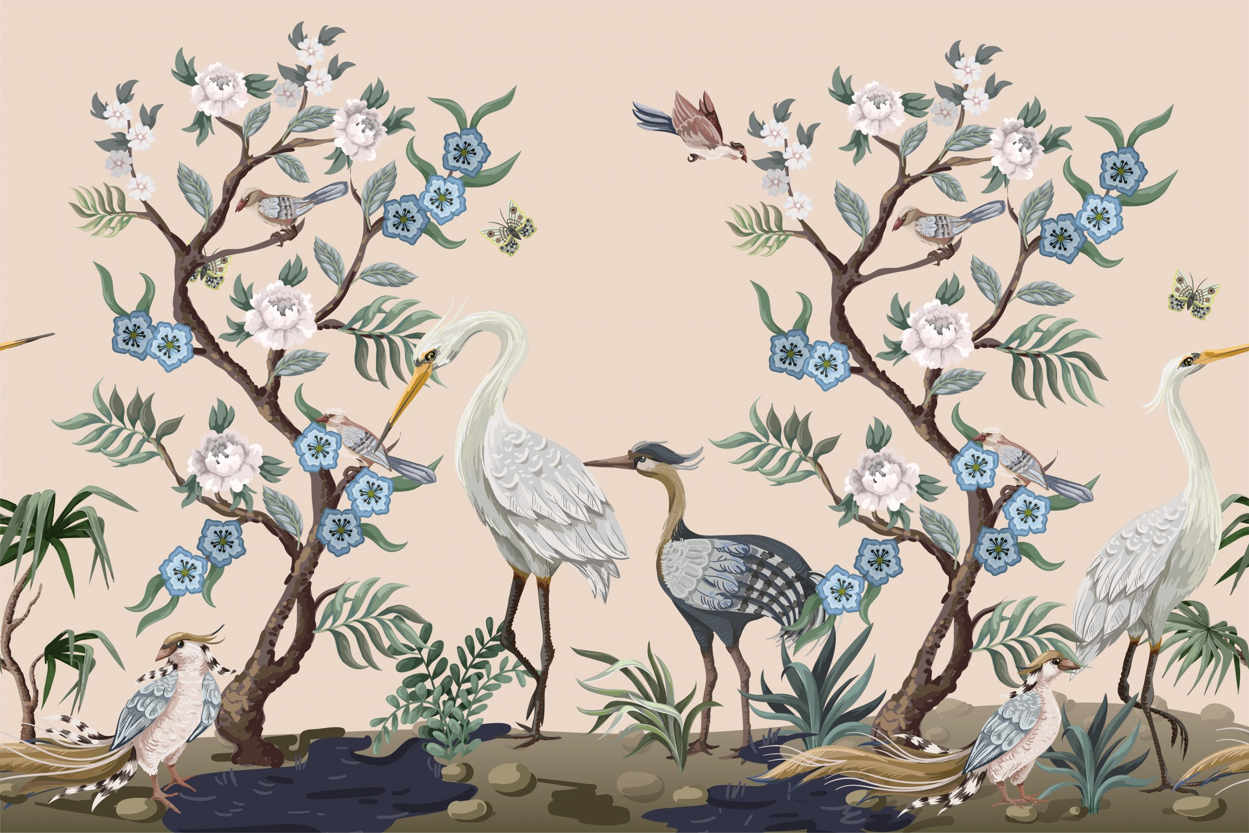Border in chinoiserie style with herons and peonies. Vector.
