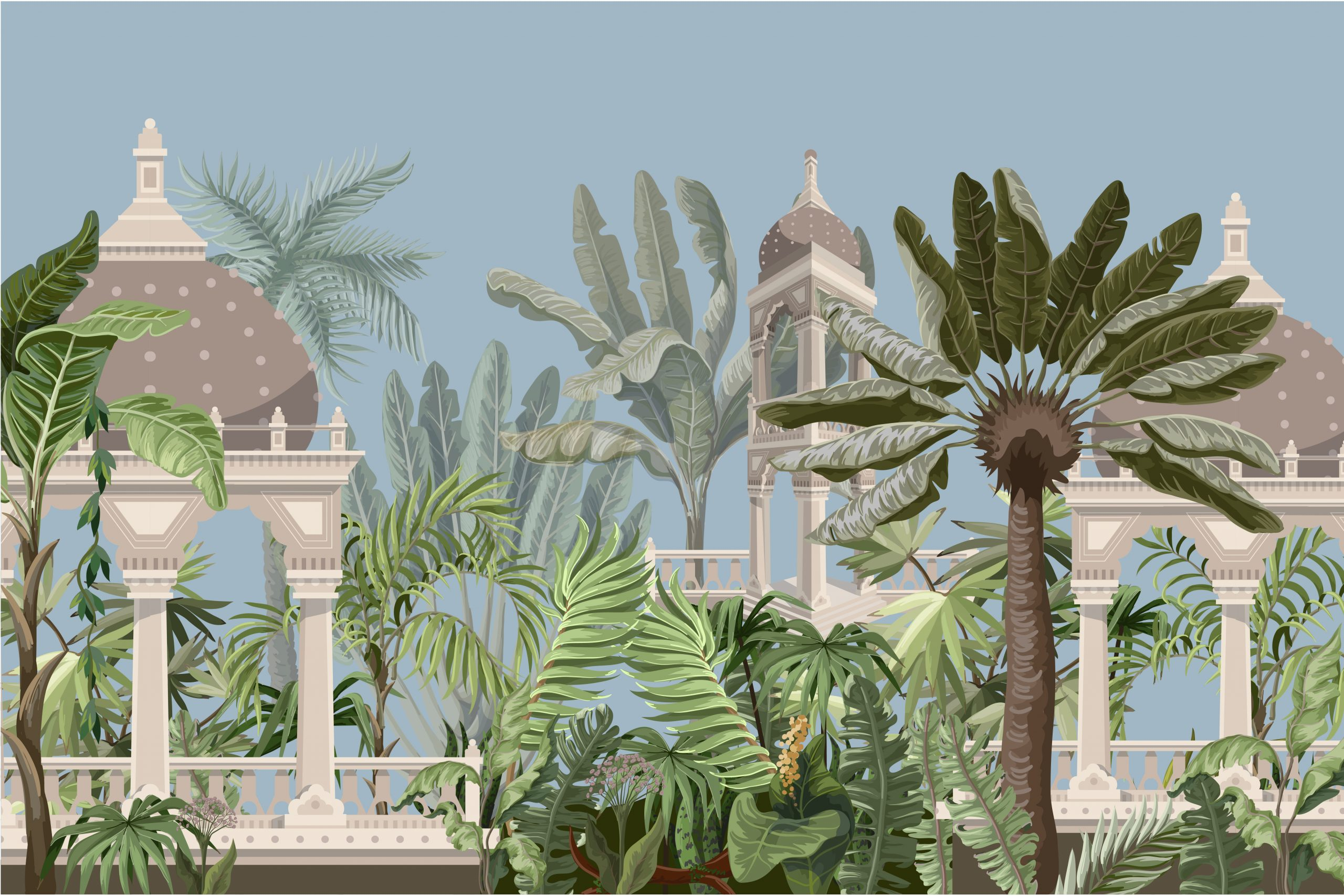 Border with jungle trees and ancient castle. Vector
