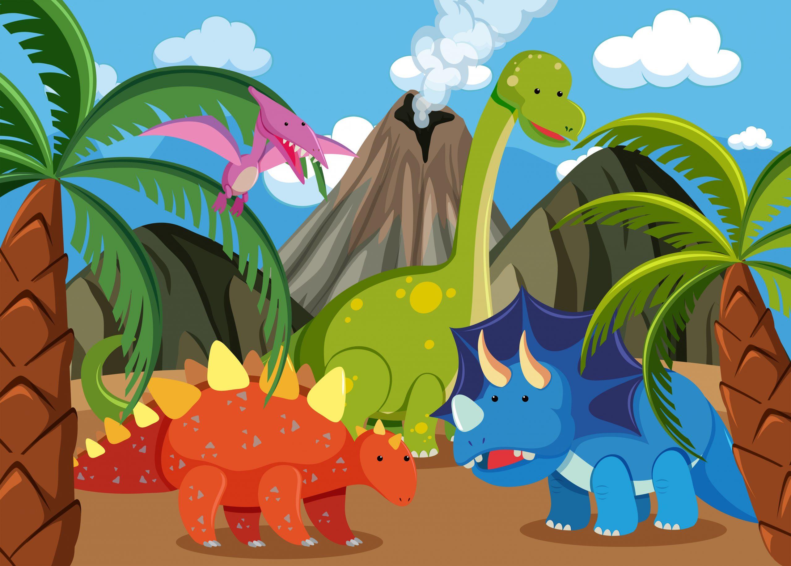 Many dinosaur in nature illustration