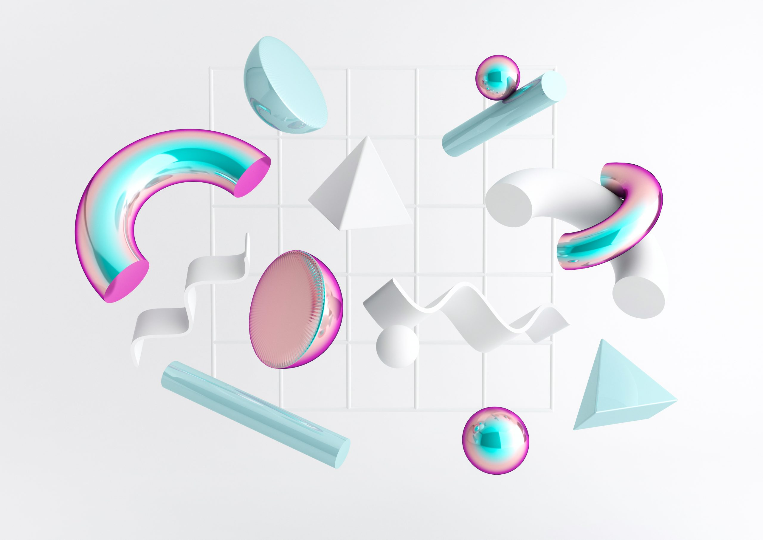 3d render realistic primitives composition. Flying shapes in motion isolated on white background. Abstract theme for trendy designs. Spheres, torus, tubes, cones in white and holographic colors.