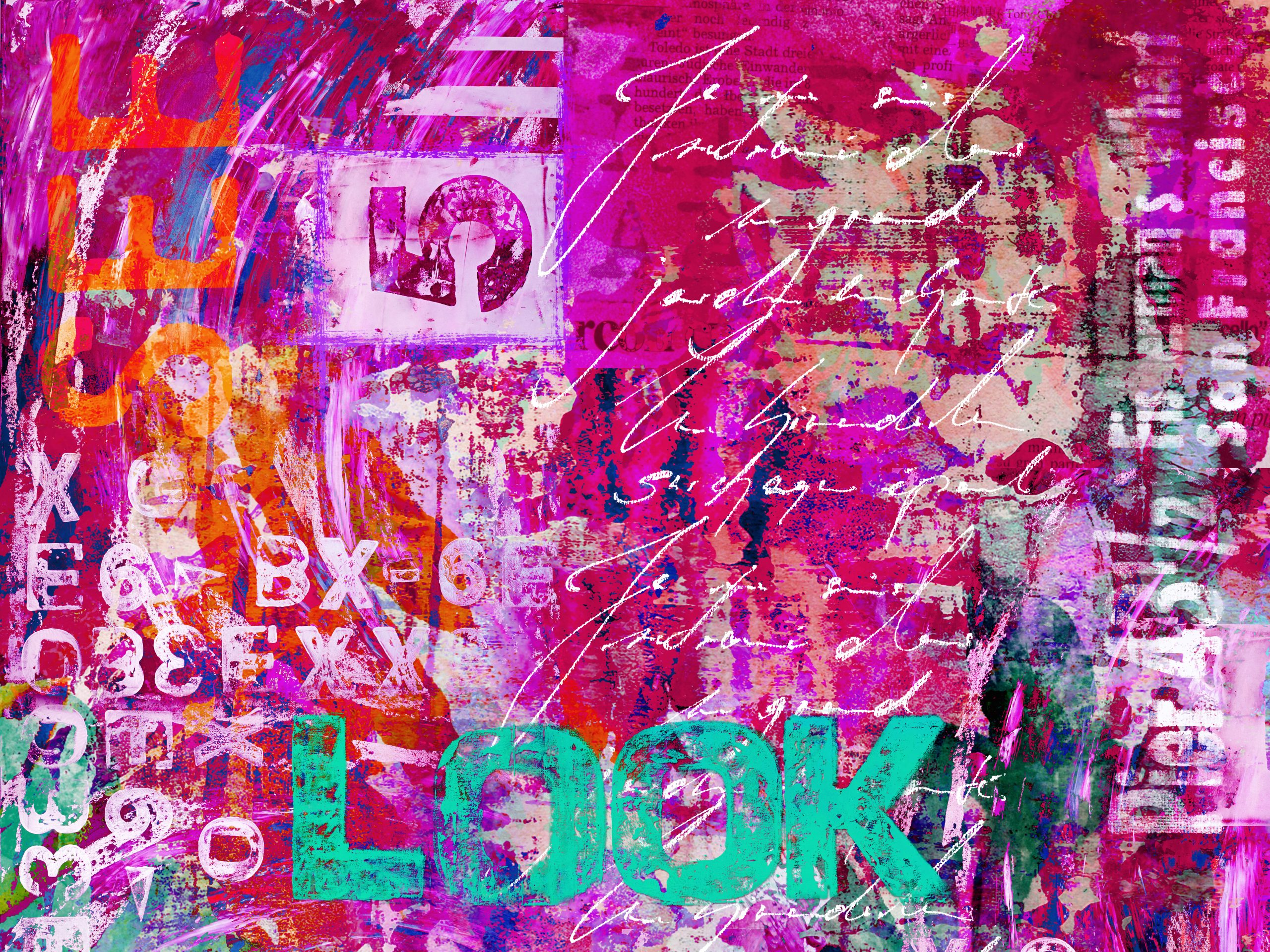 digital created grunge style design with typography elements and the word look, all used material is created and painted by myself