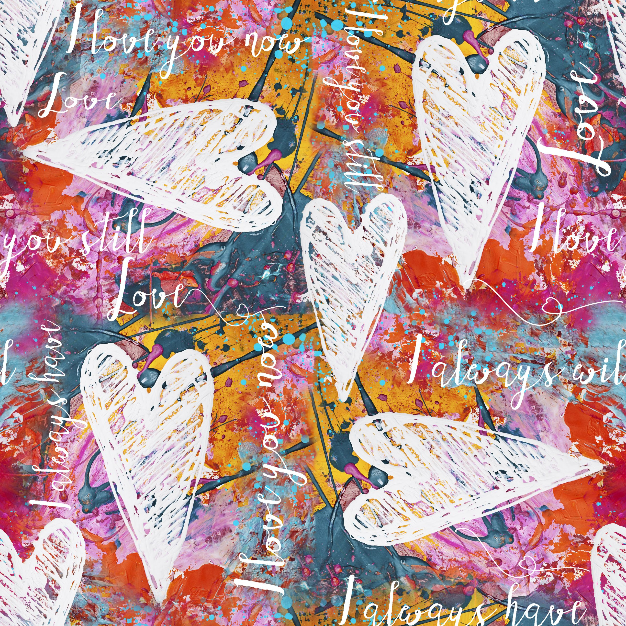 digital created heart and text seamless repeating pattern design, all used artwork is created and painted by myself