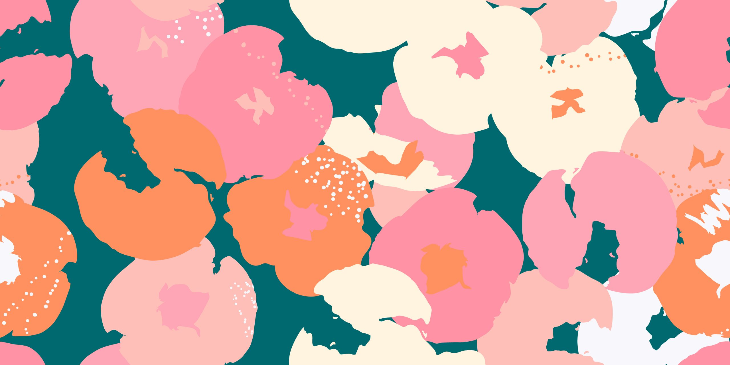 Painting universal freehand floral seamless pattern with hand-drawn flowers. Graphic design for background, card, banner, poster, cover, invitation, fabric, header or brochure