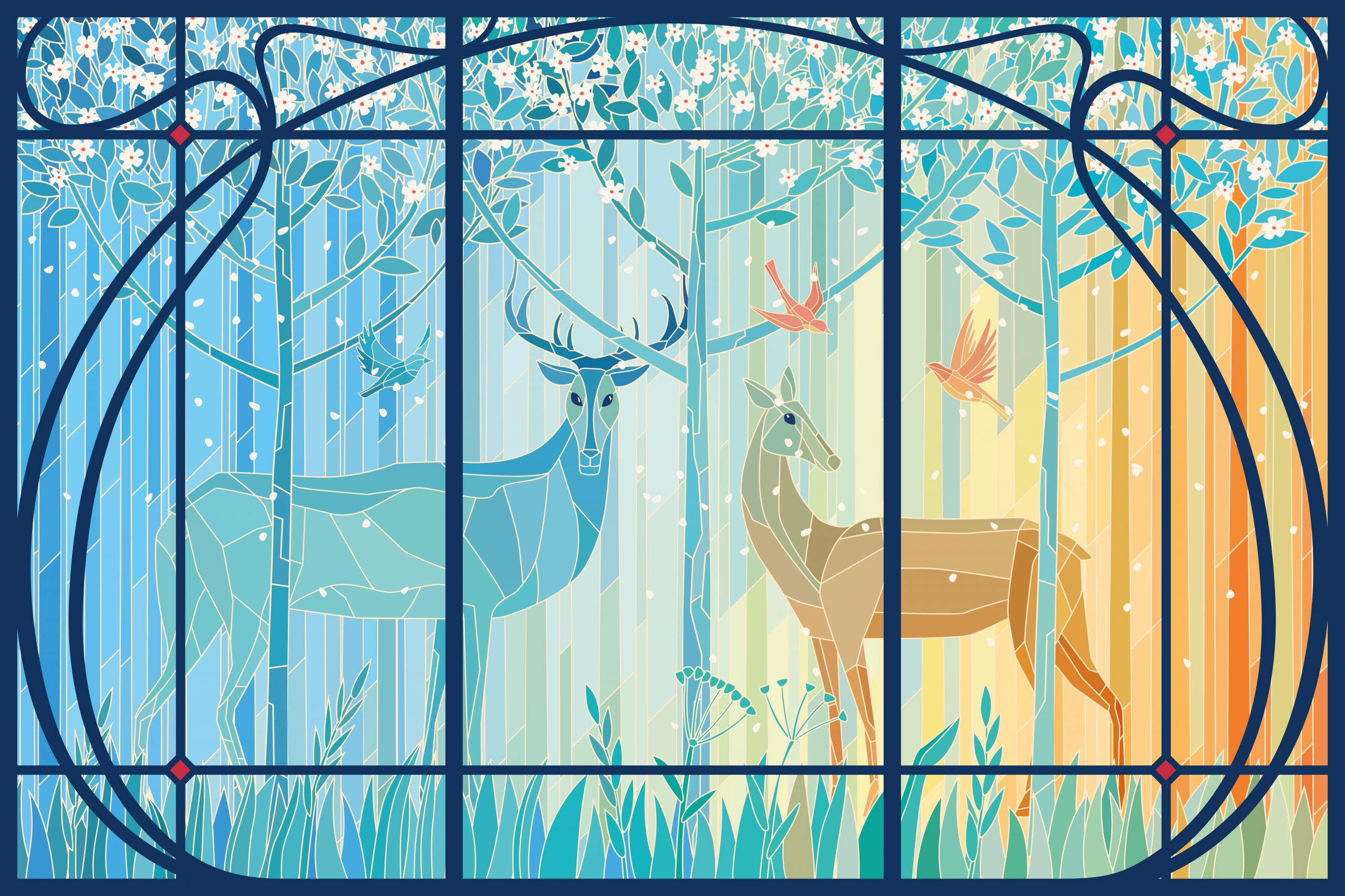 Stained glass pair of deer in the spring forest in Art Nouveau frame. Vector graphics