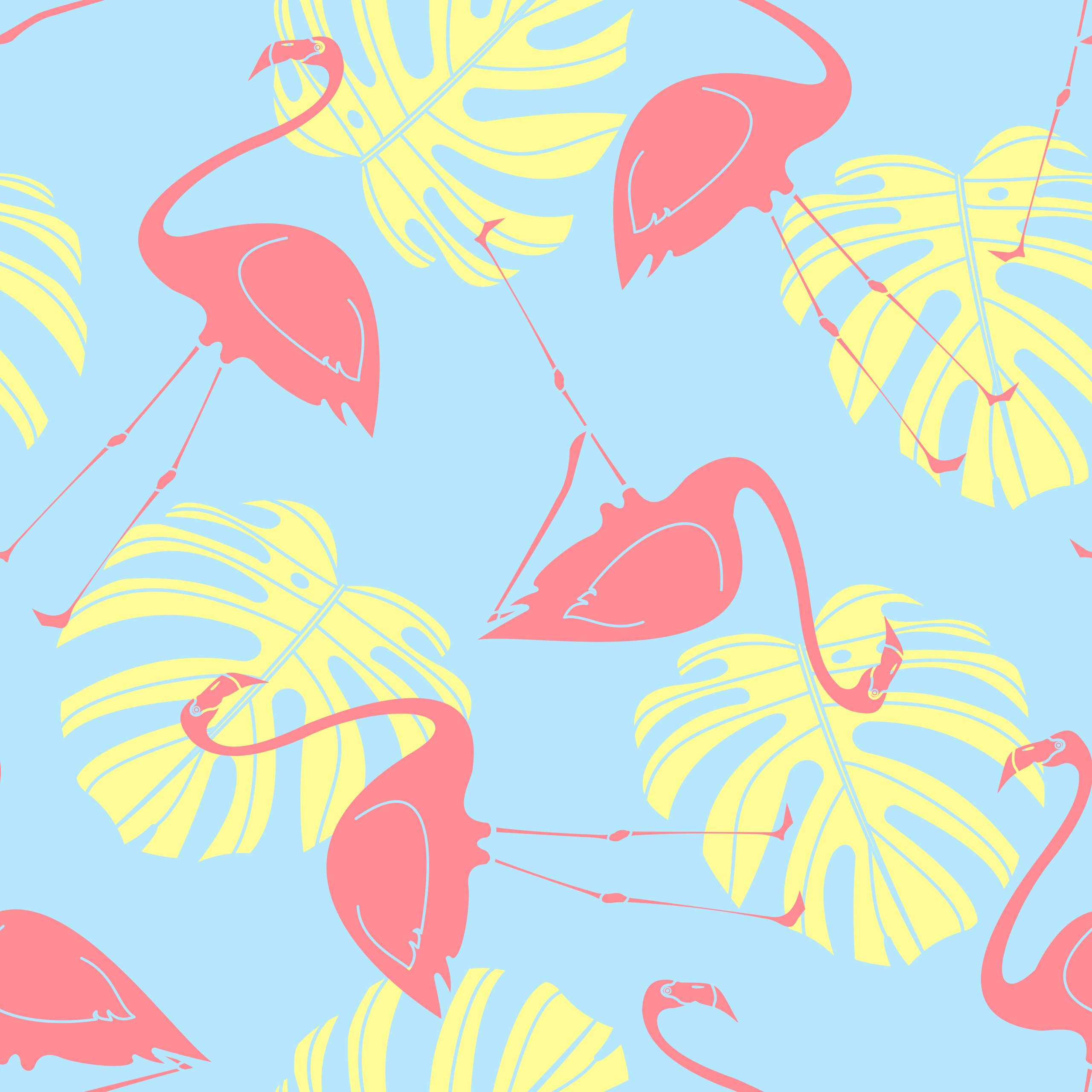 Silhouette flamingo and monstera random on blue background. Seamless pattern background design for Summer season in vector illustration.