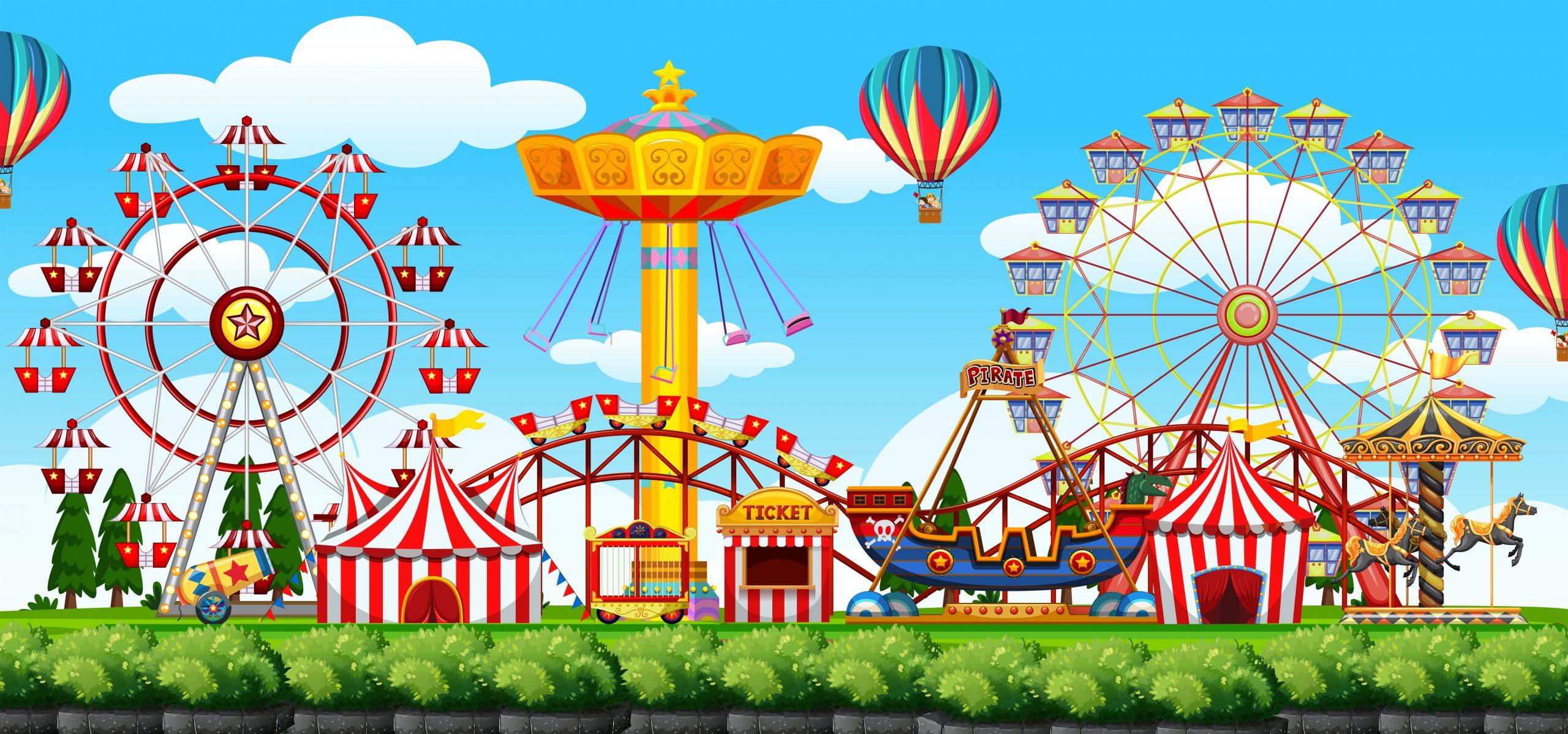 A theme park scene illustration