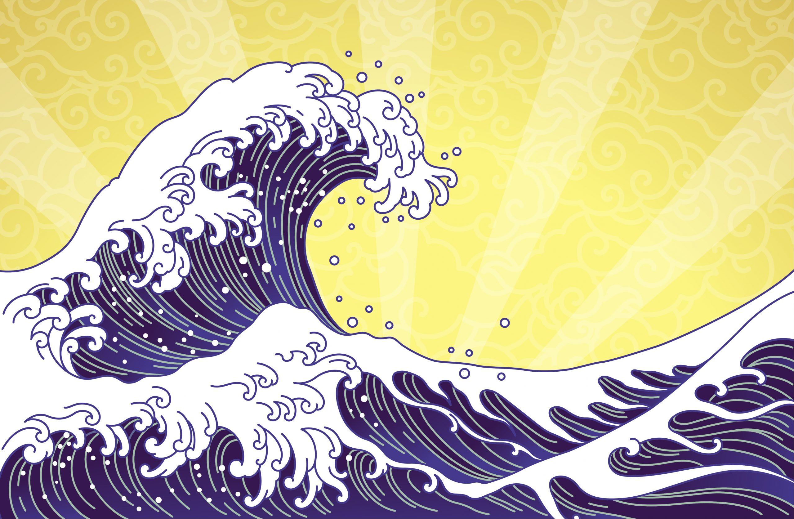 Great wave and ocean oriental style illustration isolated on  golden sunshine and  seamless clouds background. Japan waves and Chinese cloud vector.