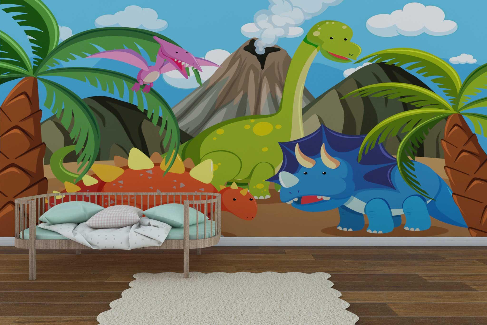 tapet-fototapet-comanda-personalizat-bucuresti-camera-dormitor-copii-model-desen-dinozauri-multicolor-2