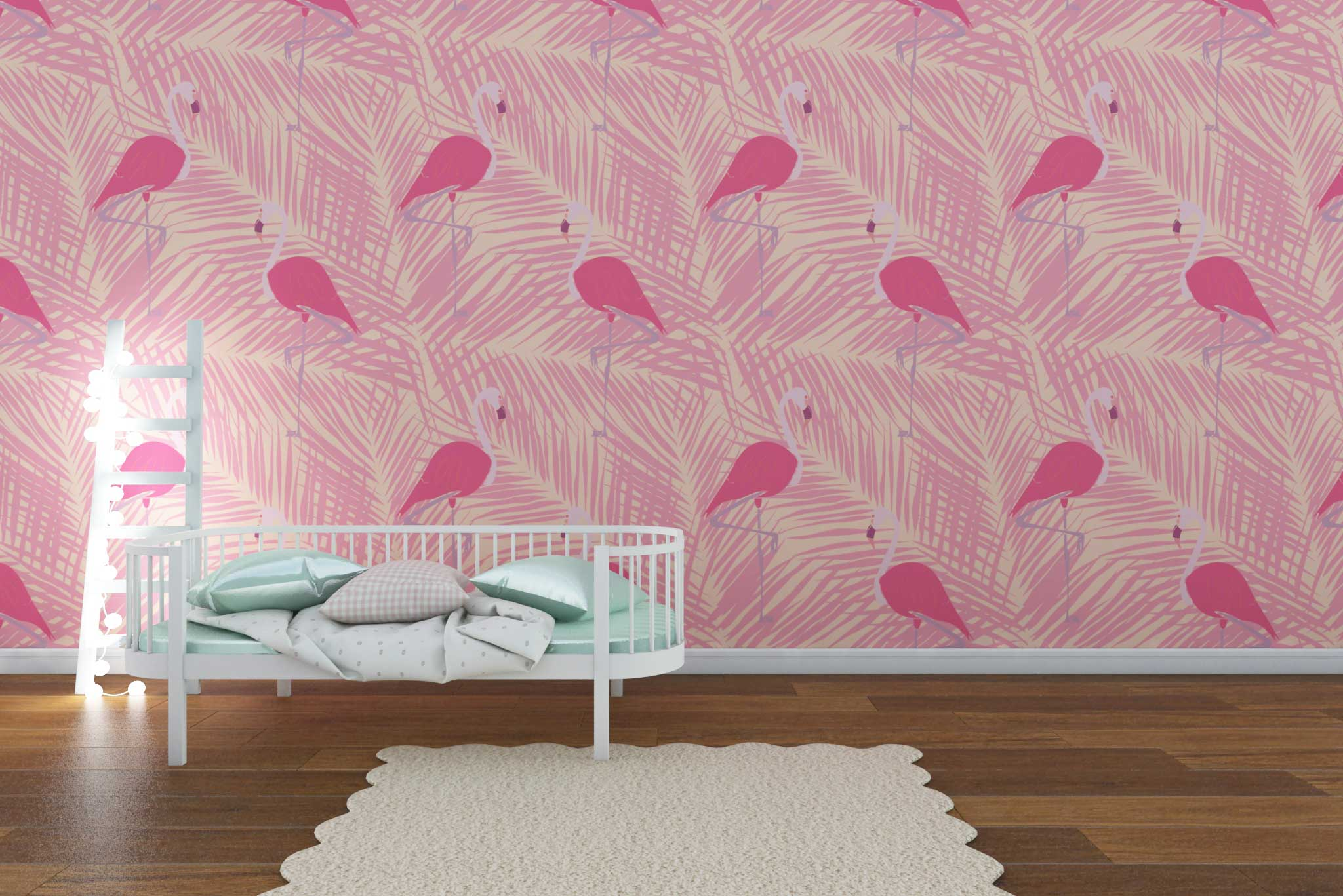 tapet-fototapet-comanda-personalizat-bucuresti-camera-dormitor-copii-model-flamingo-frunze-roz