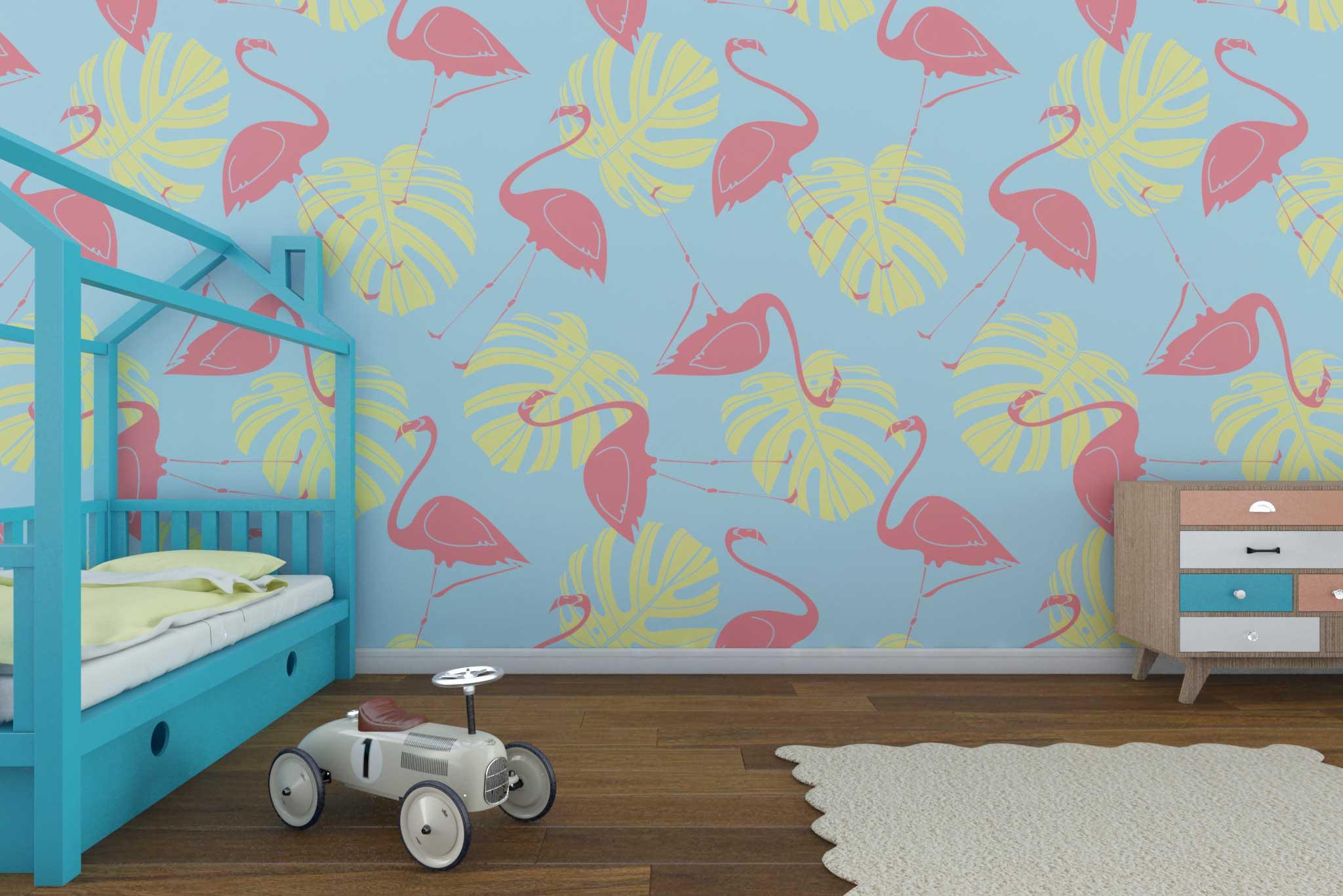 tapet-fototapet-comanda-personalizat-bucuresti-camera-dormitor-copii-model-flamingo-frunze
