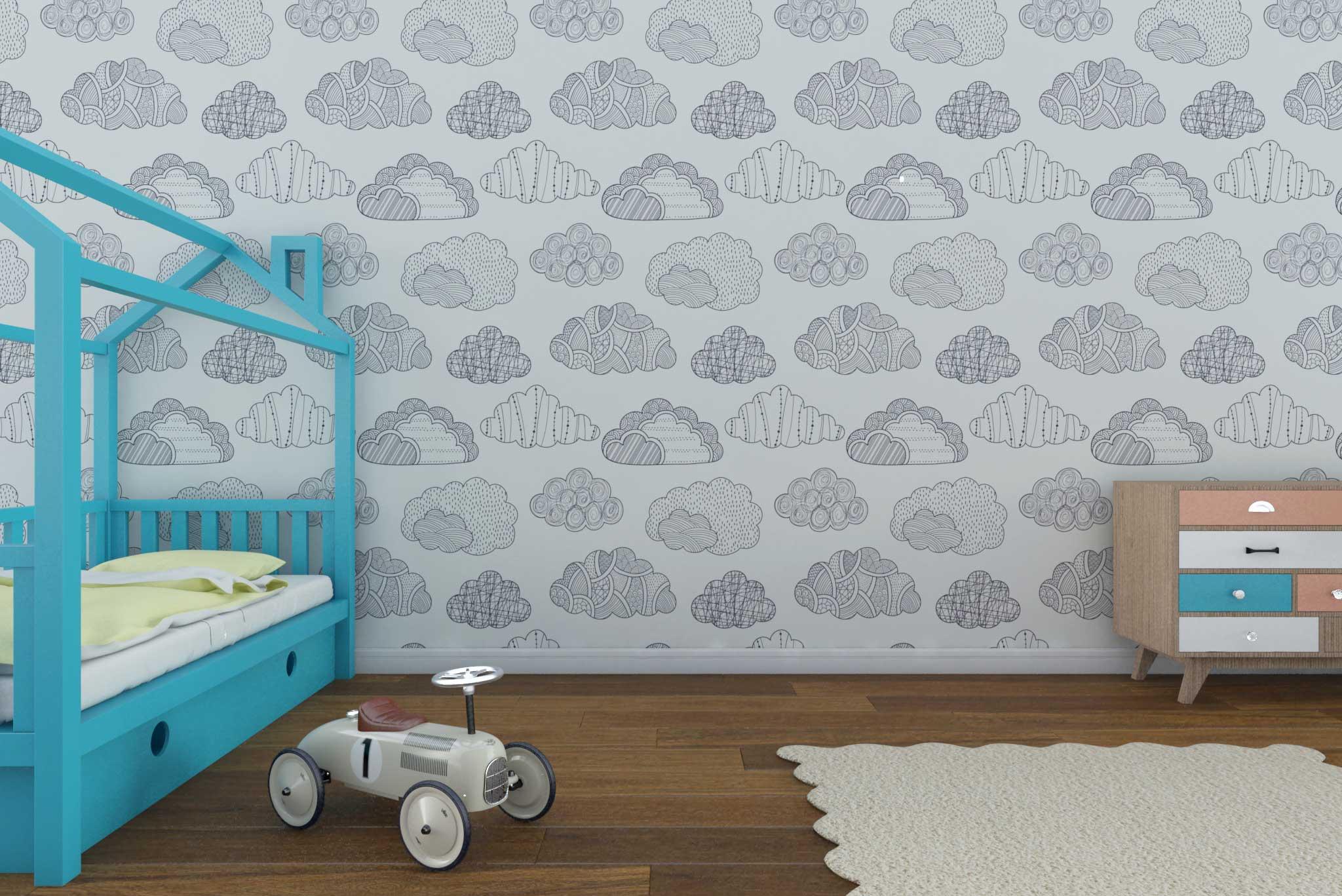 tapet-fototapet-comanda-personalizat-bucuresti-camera-dormitor-copii-model-nori-ilustratie-alb-negru