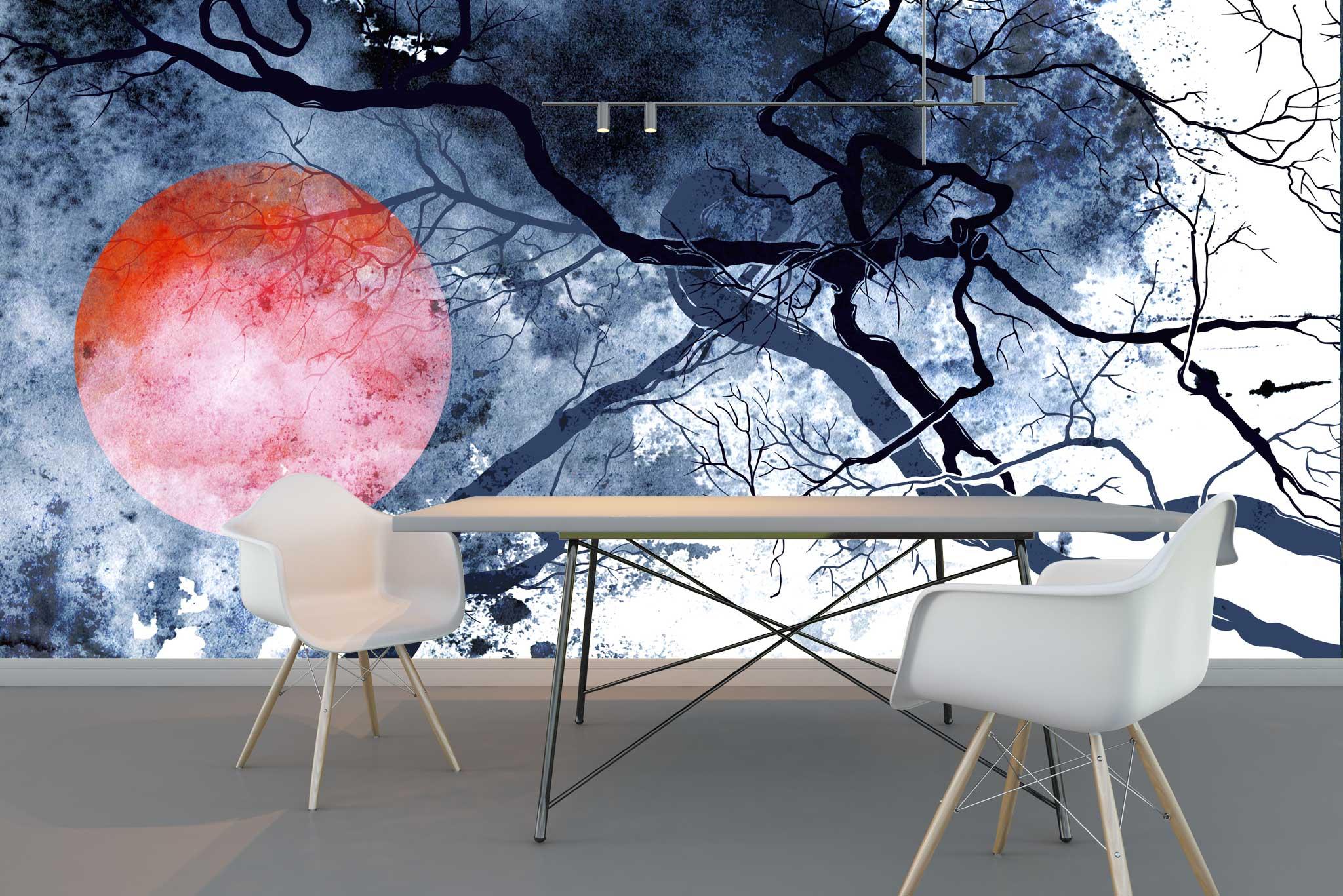 tapet-fototapet-comanda-personalizat-bucuresti-perete-special-lux-model-pictura-desen-stil-asiatic-crengi-soare-japonez