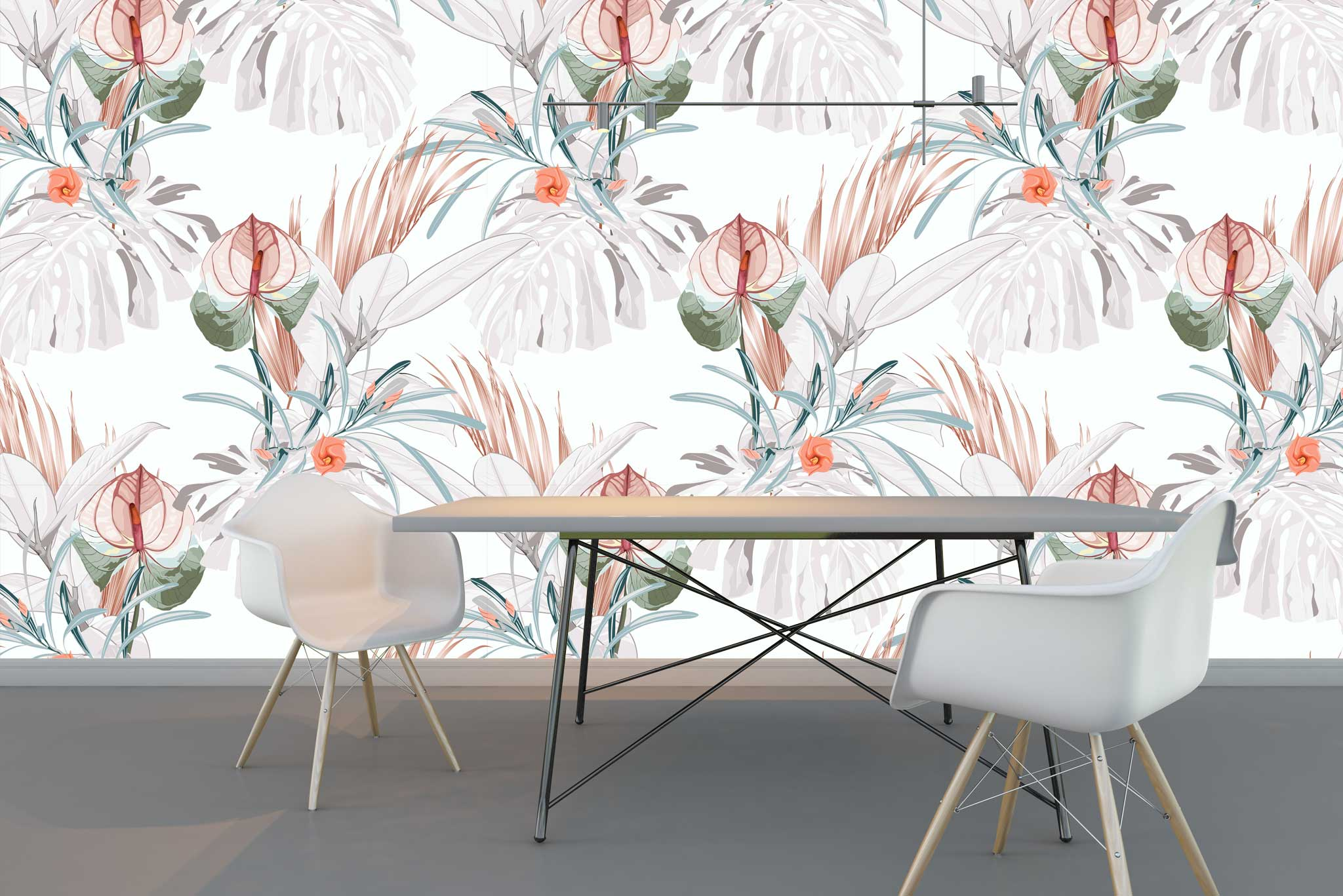 tapet-fototapet-comanda-personalizat-bucuresti-perete-special-lux-model-vegetal-frunze-flori-exotice-tropical-alb
