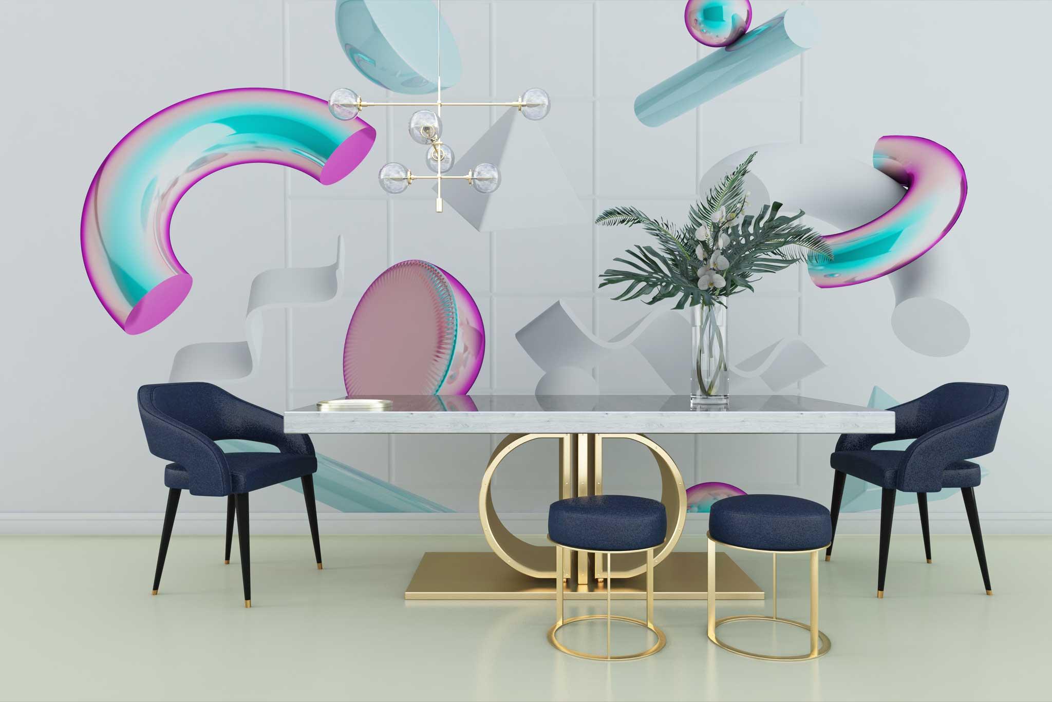 tapet-fototapet-personalizat-comanda-bucuresti-model-abstract-volume-alb-roz-perete-lux-special