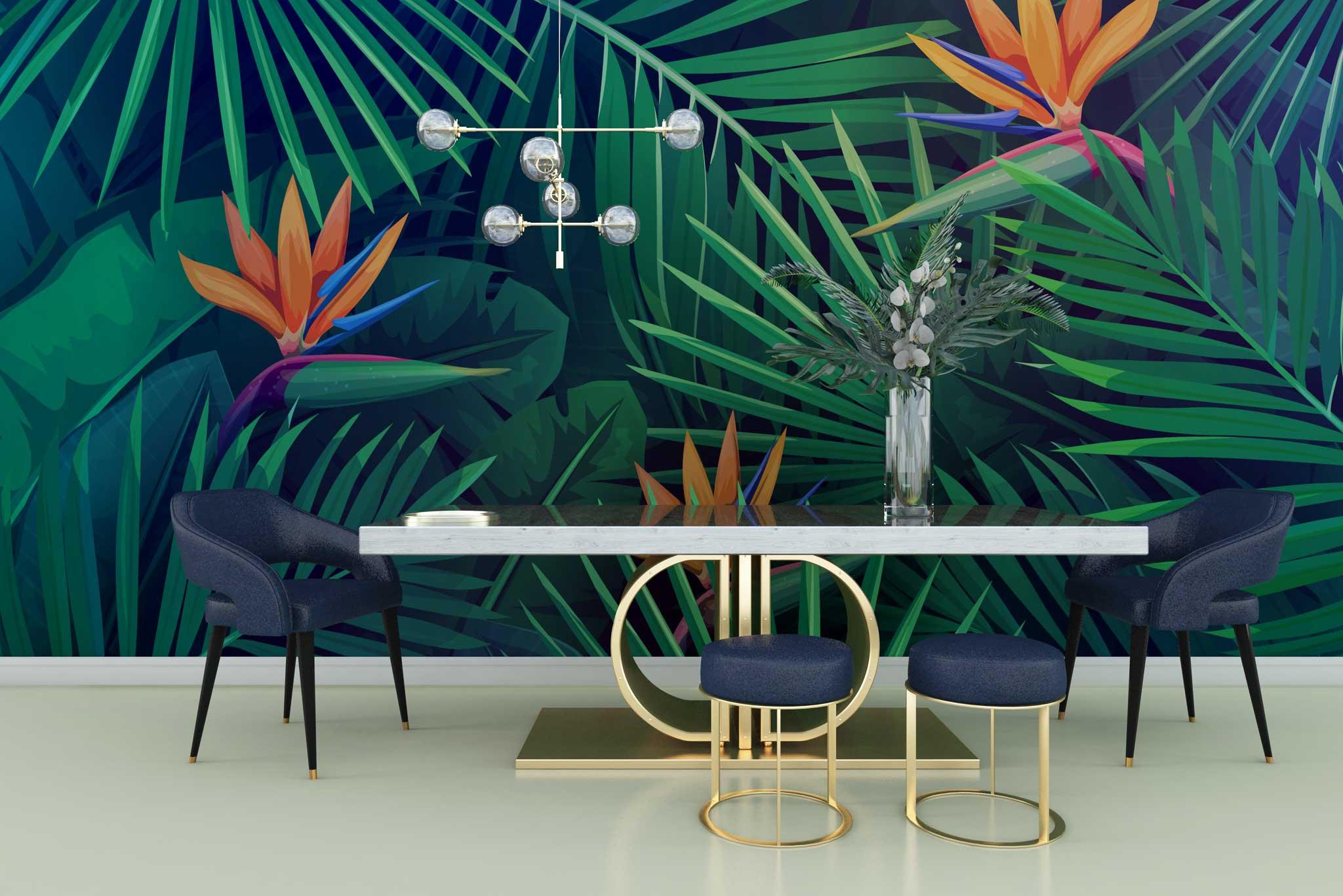 tapet-fototapet-personalizat-comanda-bucuresti-model-floral-frunze-exotice-floarea-pasiunii-perete-lux-special