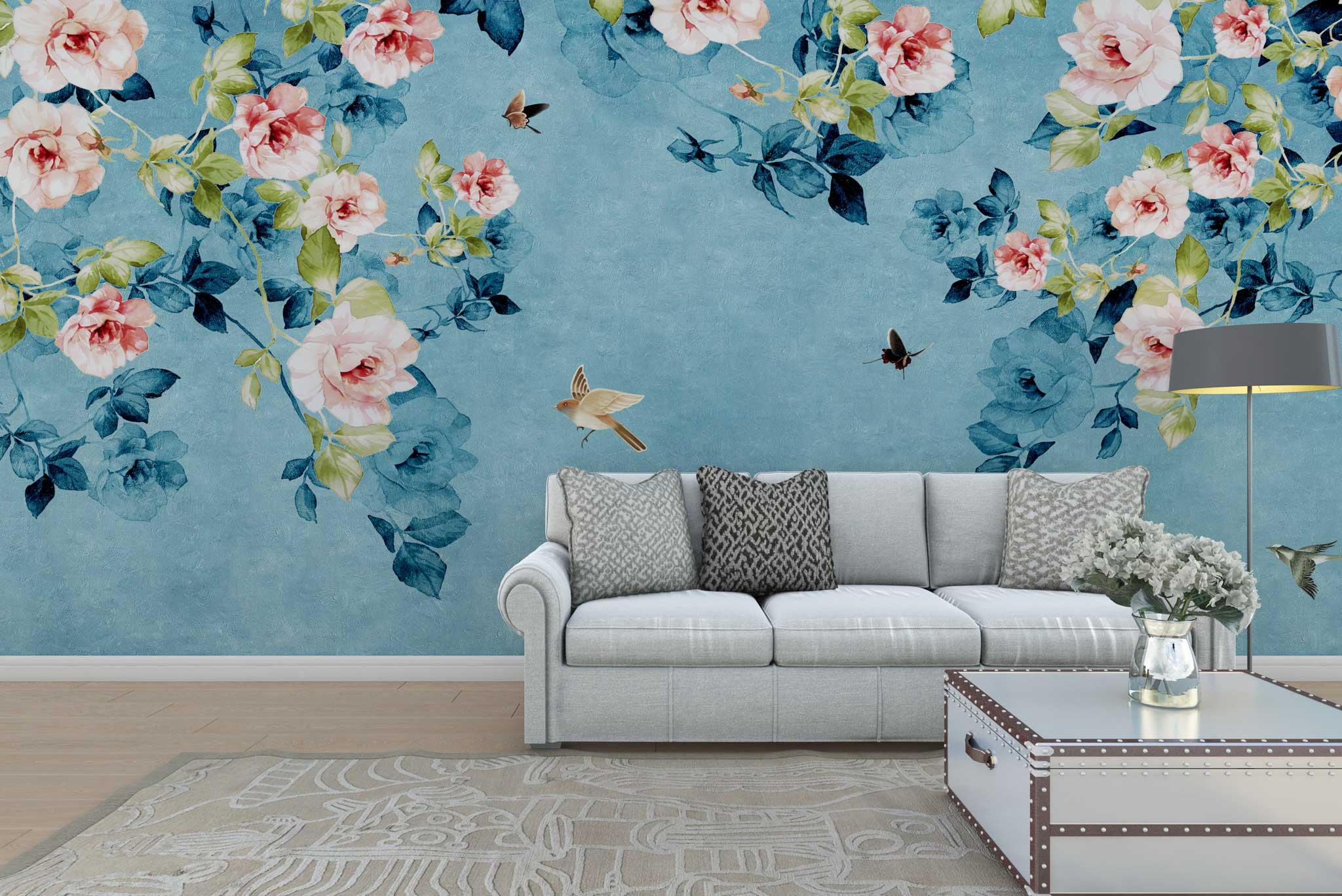 tapet-fototapet-personalizat-comanda-bucuresti-model-floral-ramuri-trandafiri-roz-bleu-albastru-perete-lux-special