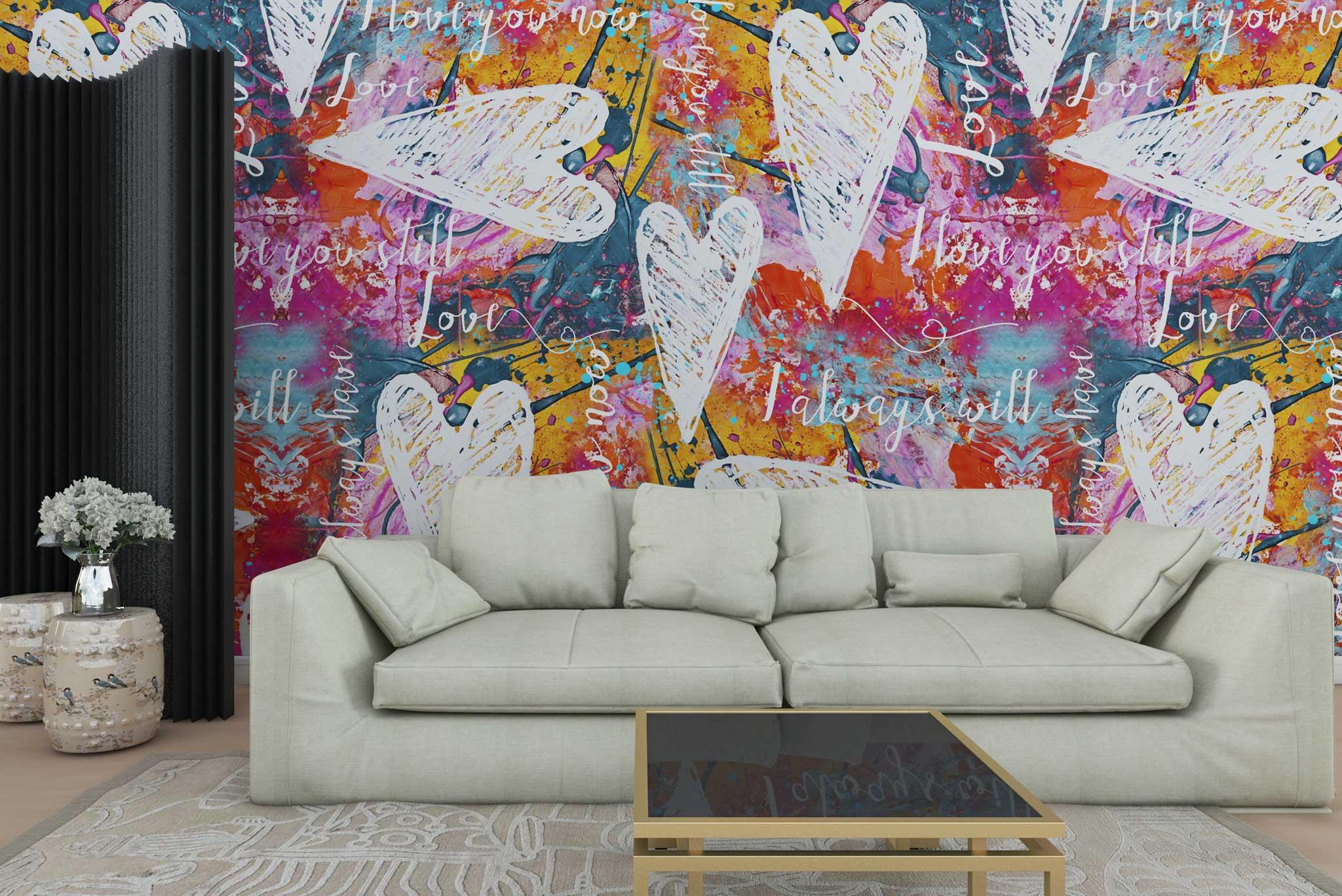 tapet-fototapet-personalizat-comanda-bucuresti-pictura-abstracta-graffitti-multicolor-inimi-litere-perete-lux-special