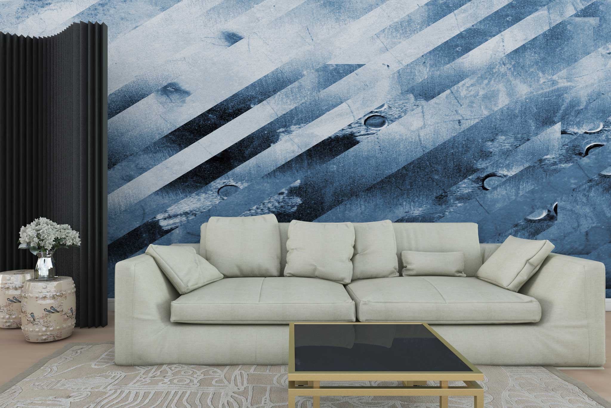 tapet-fototapet-personalizat-comanda-bucuresti-pictura-abstracta-grafic-model-geometric-linii-oblice-albastru-perete-lux-special