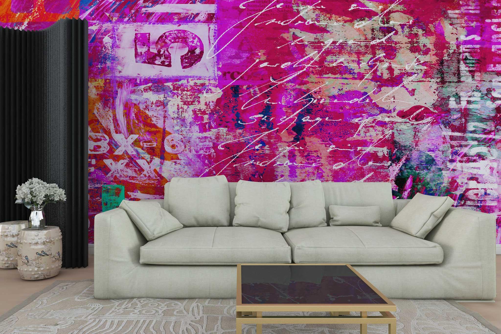 tapet-fototapet-personalizat-comanda-bucuresti-pictura-abstracta-roz-litere-perete-lux-special